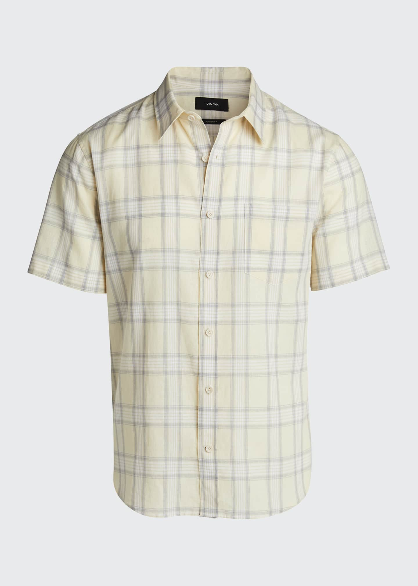 Image 5 of 5: Men's Linen Plaid Short-Sleeve Sport Shirt