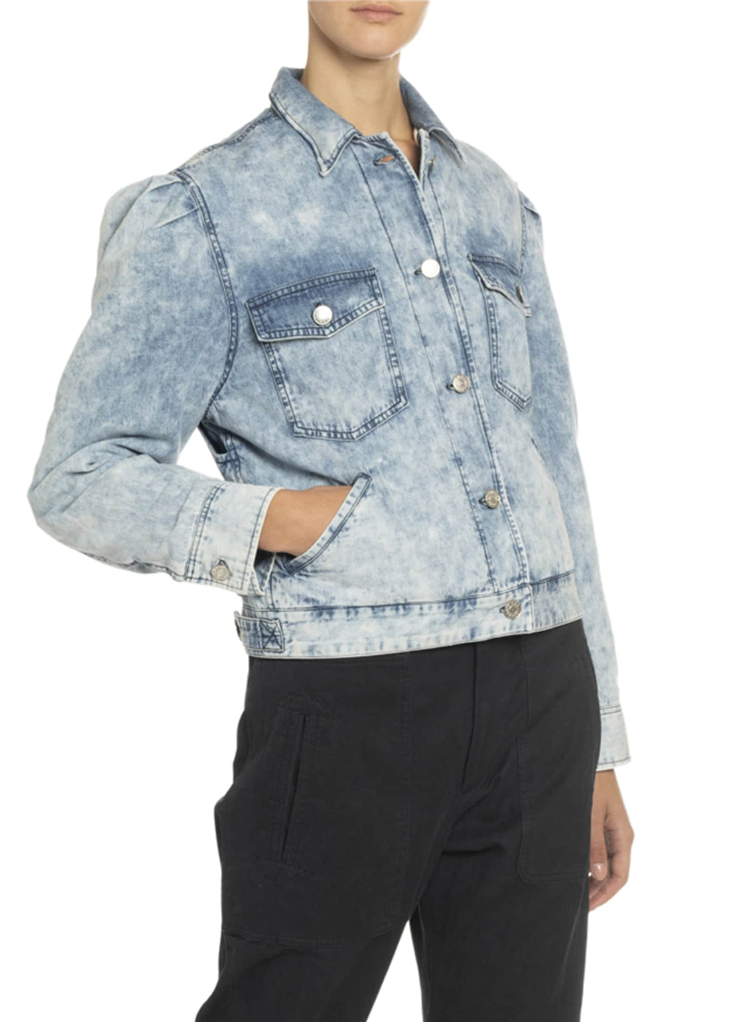 Image 2 of 3: Iolinea Acid Wash Puff-Sleeve Denim Jacket