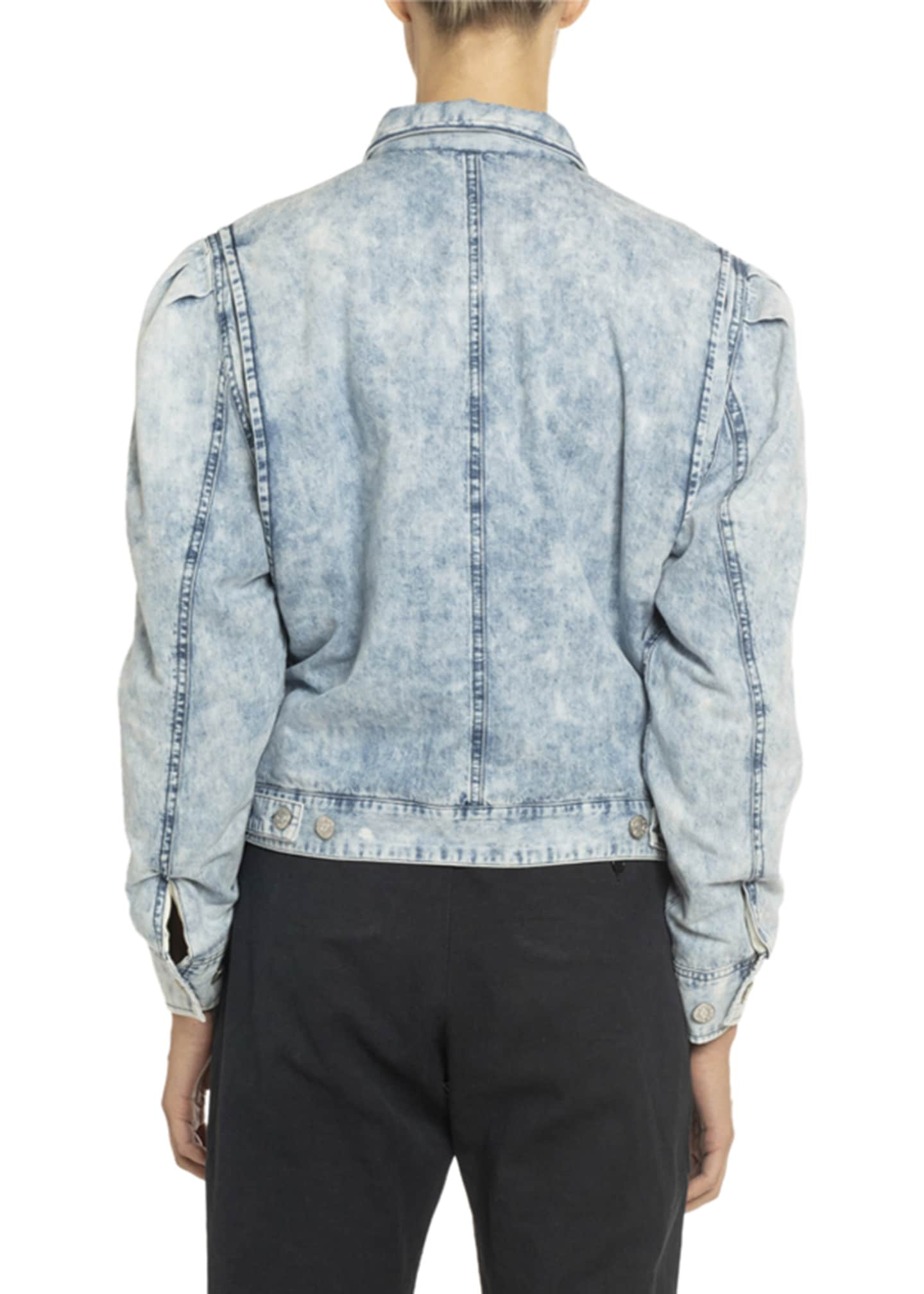 Image 3 of 3: Iolinea Acid Wash Puff-Sleeve Denim Jacket