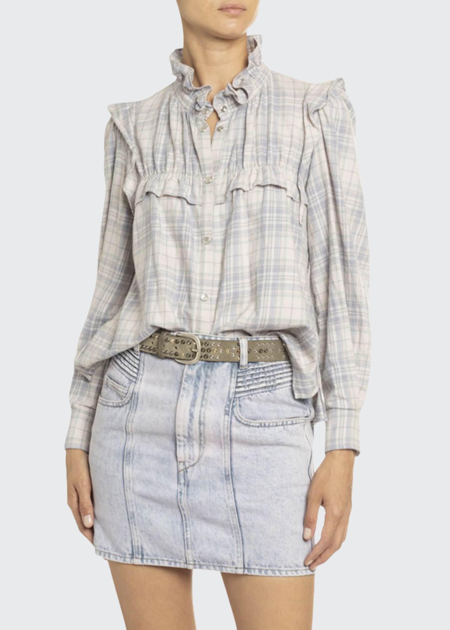 Etoile Isabel Marant Idety Ruffle-Trim Checked Cotton Shirt