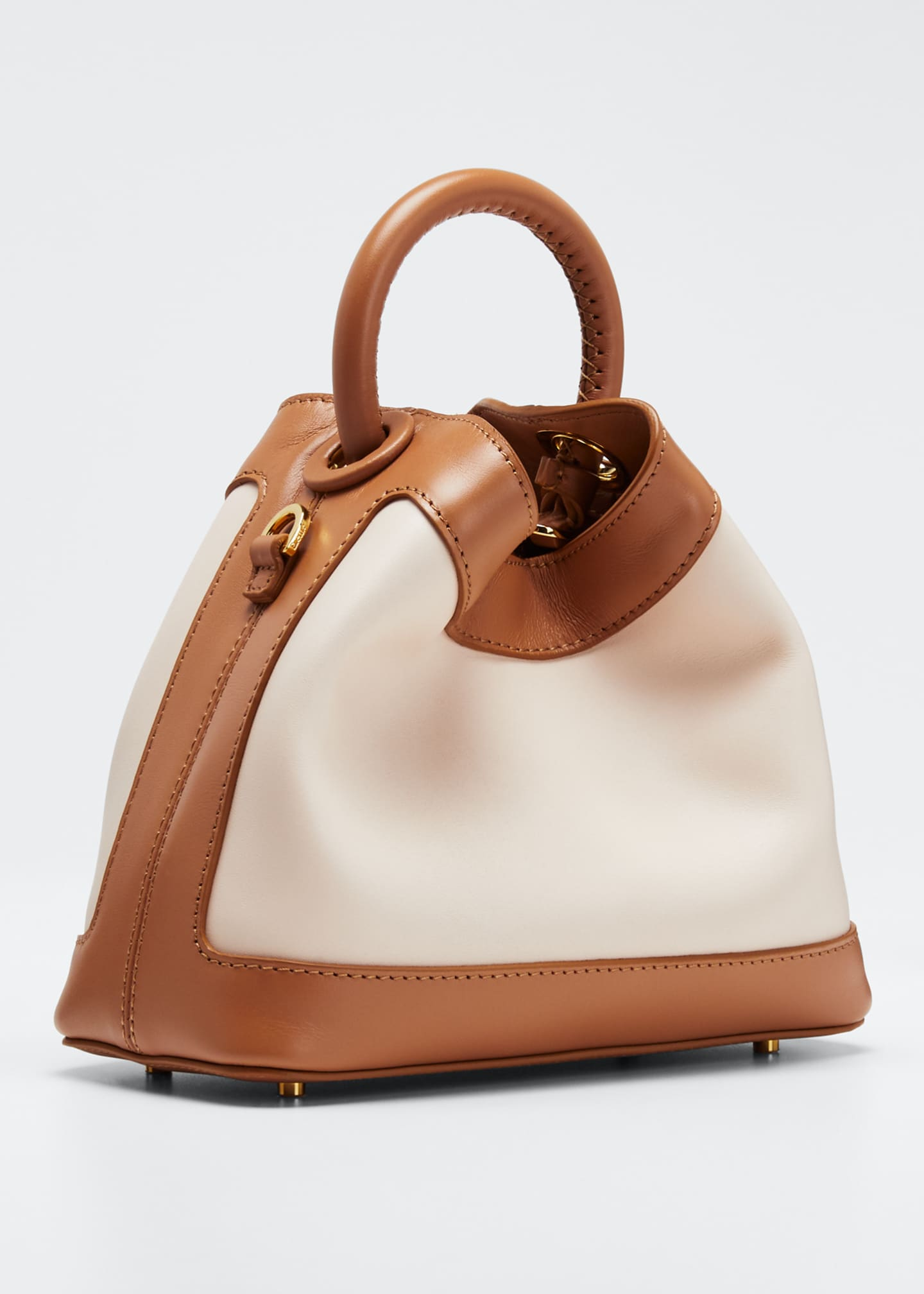 Image 3 of 5: Baozi Medium Colorblock Leather Tote Bag