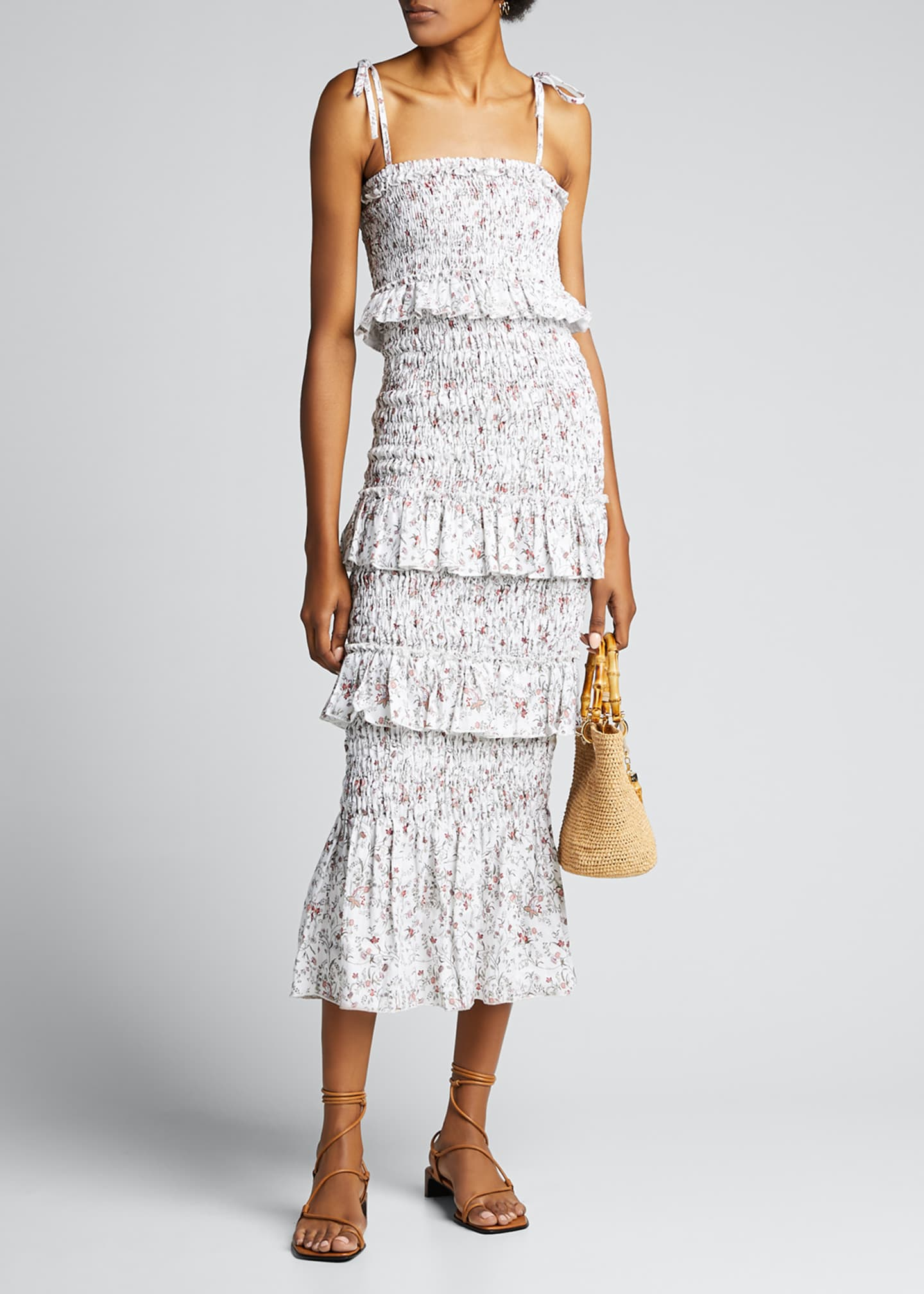SIR The Label Haisley Ruched Tiered Floral Midi