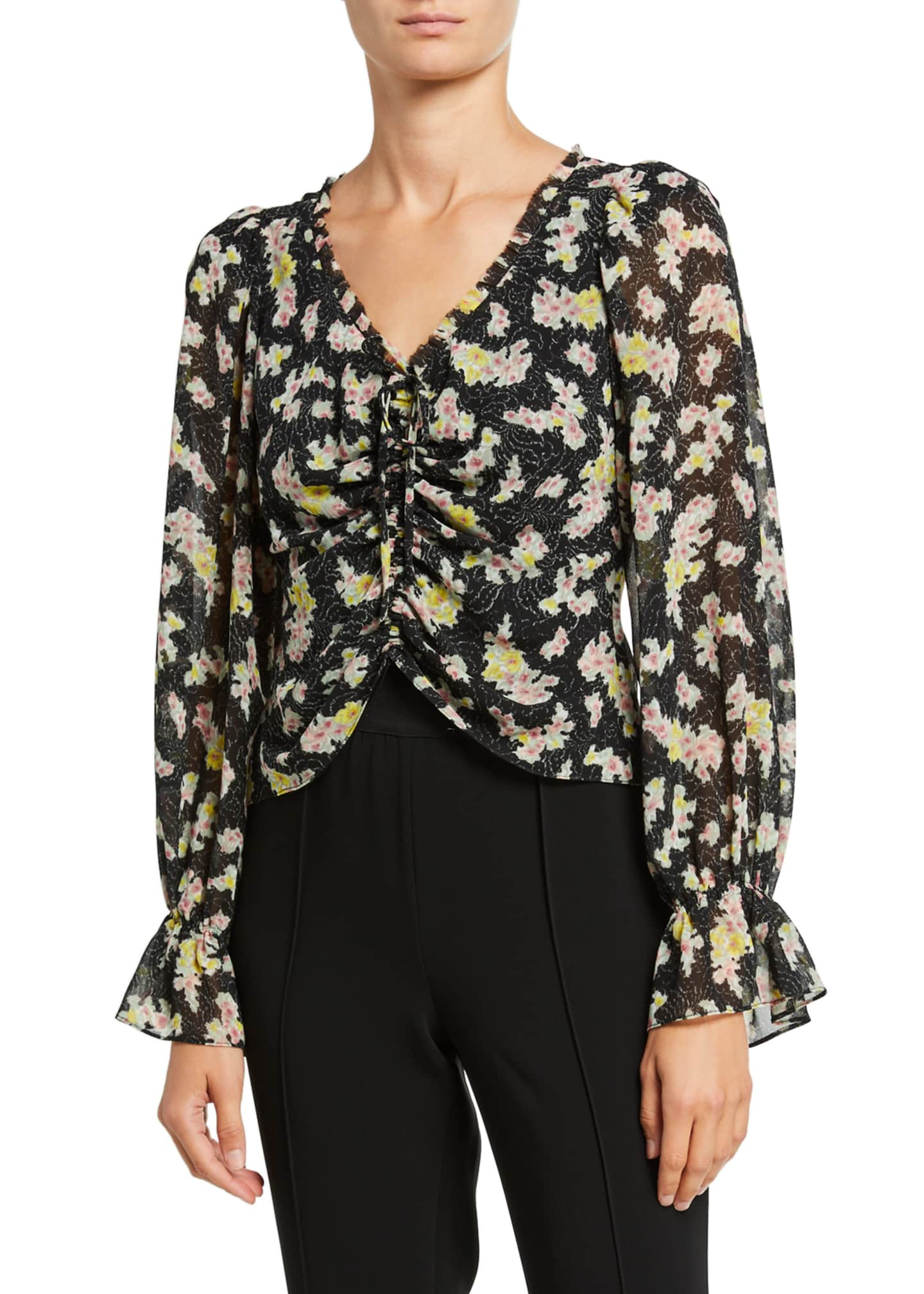 cinq a sept Kimberly Ruched Long-Sleeve Top