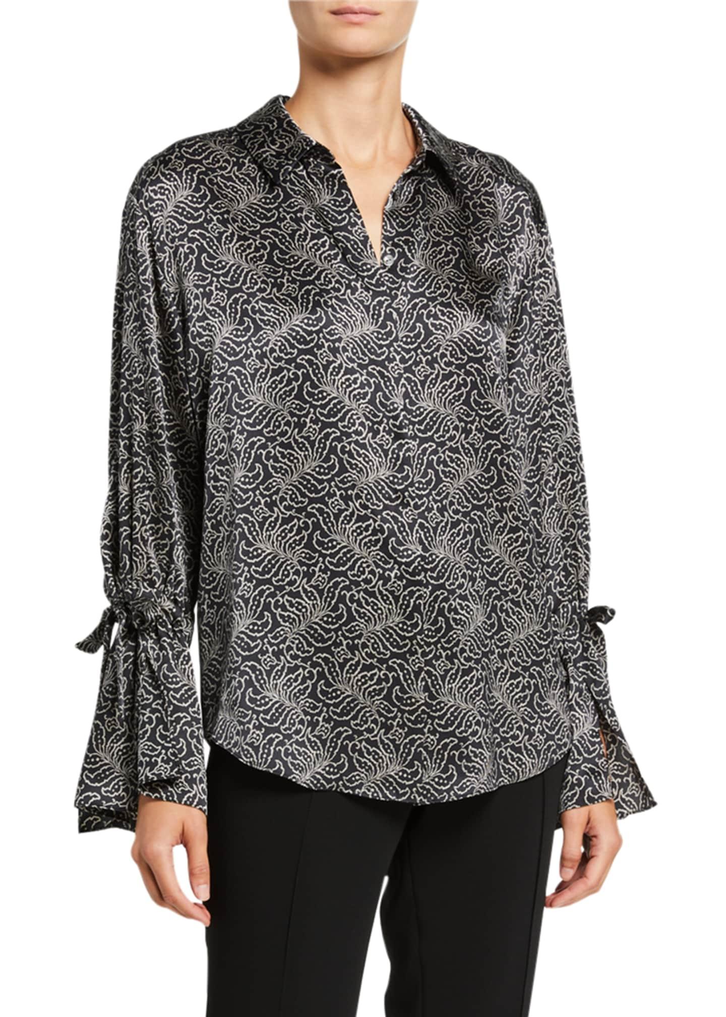 cinq a sept Elisia Long-Sleeve Jacquard Silk Top