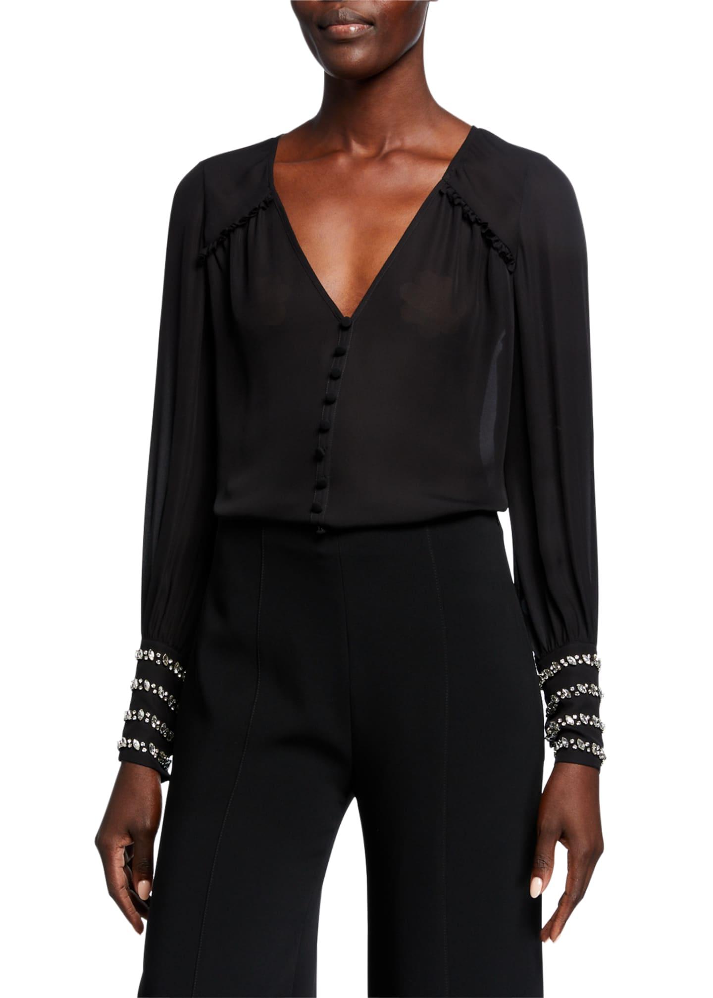 cinq a sept Amanda Embellished-Cuff Silk Top