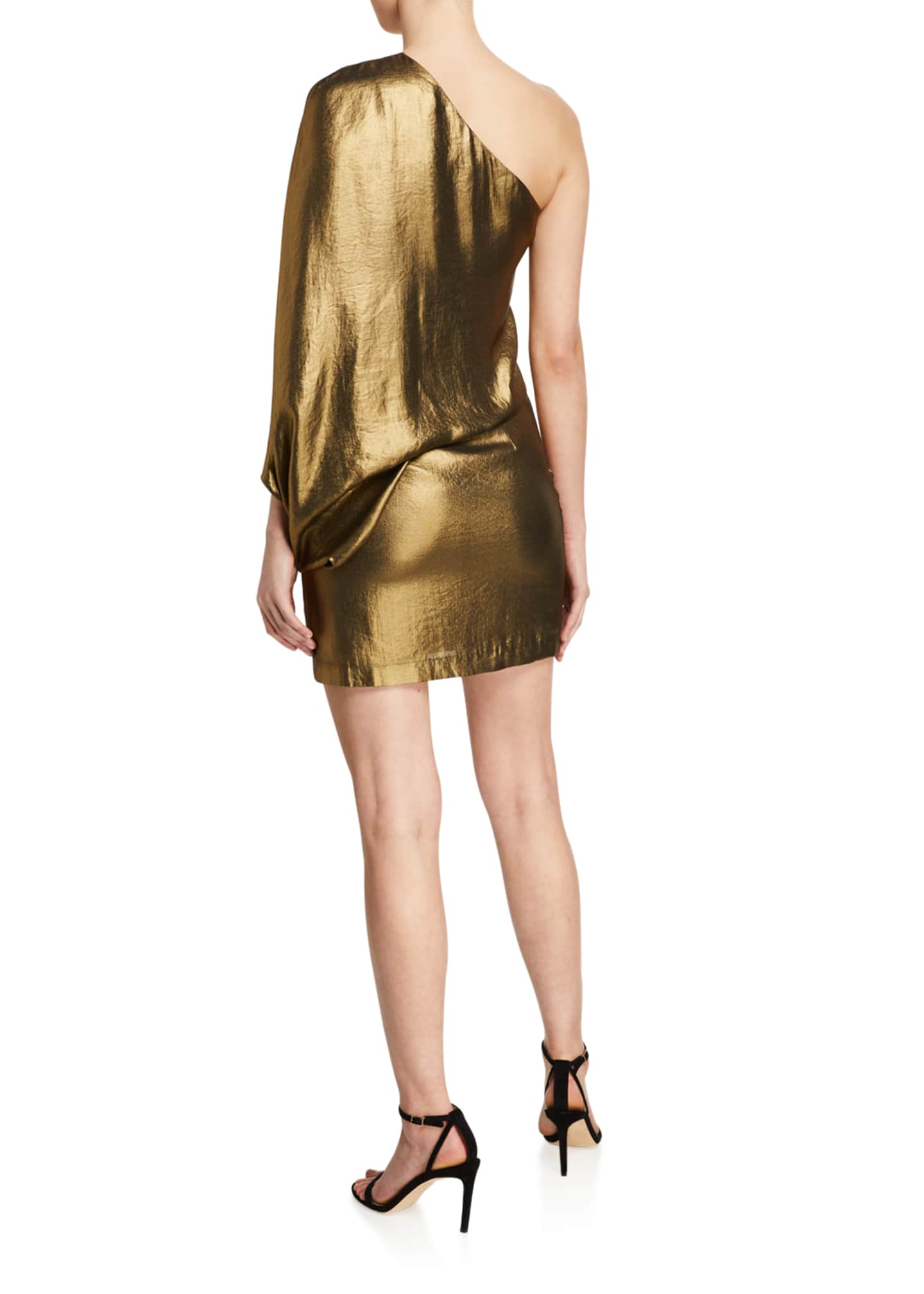 Image 2 of 2: One-Shoulder Metallic Drape Dress