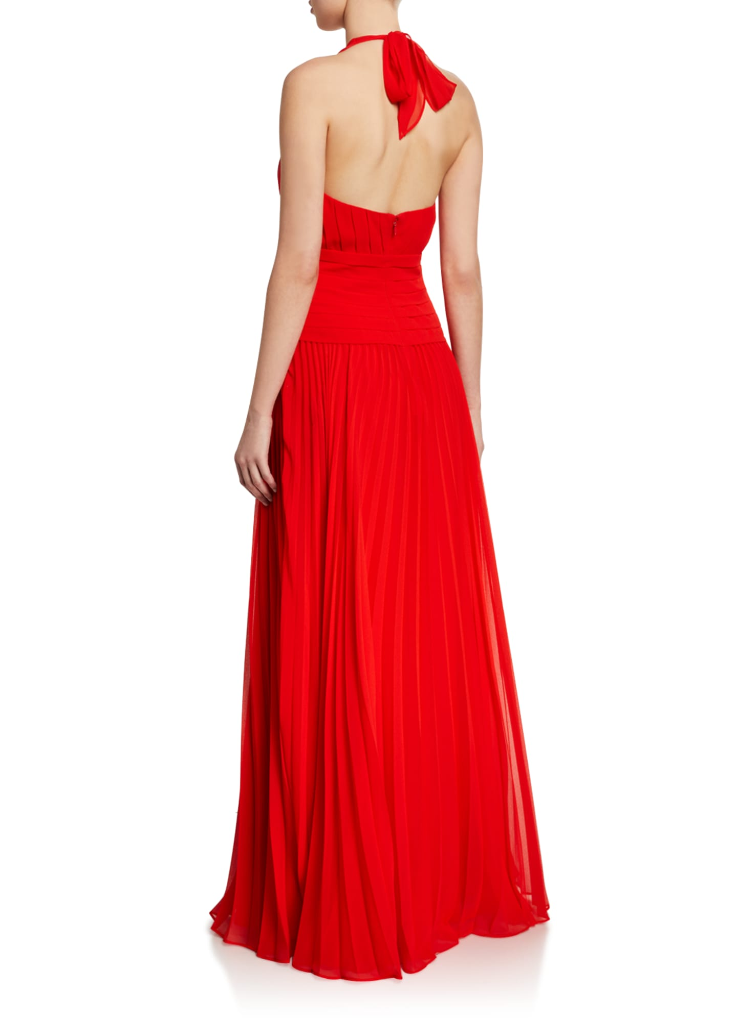 Image 2 of 2: Pleated Georgette Halter Gown