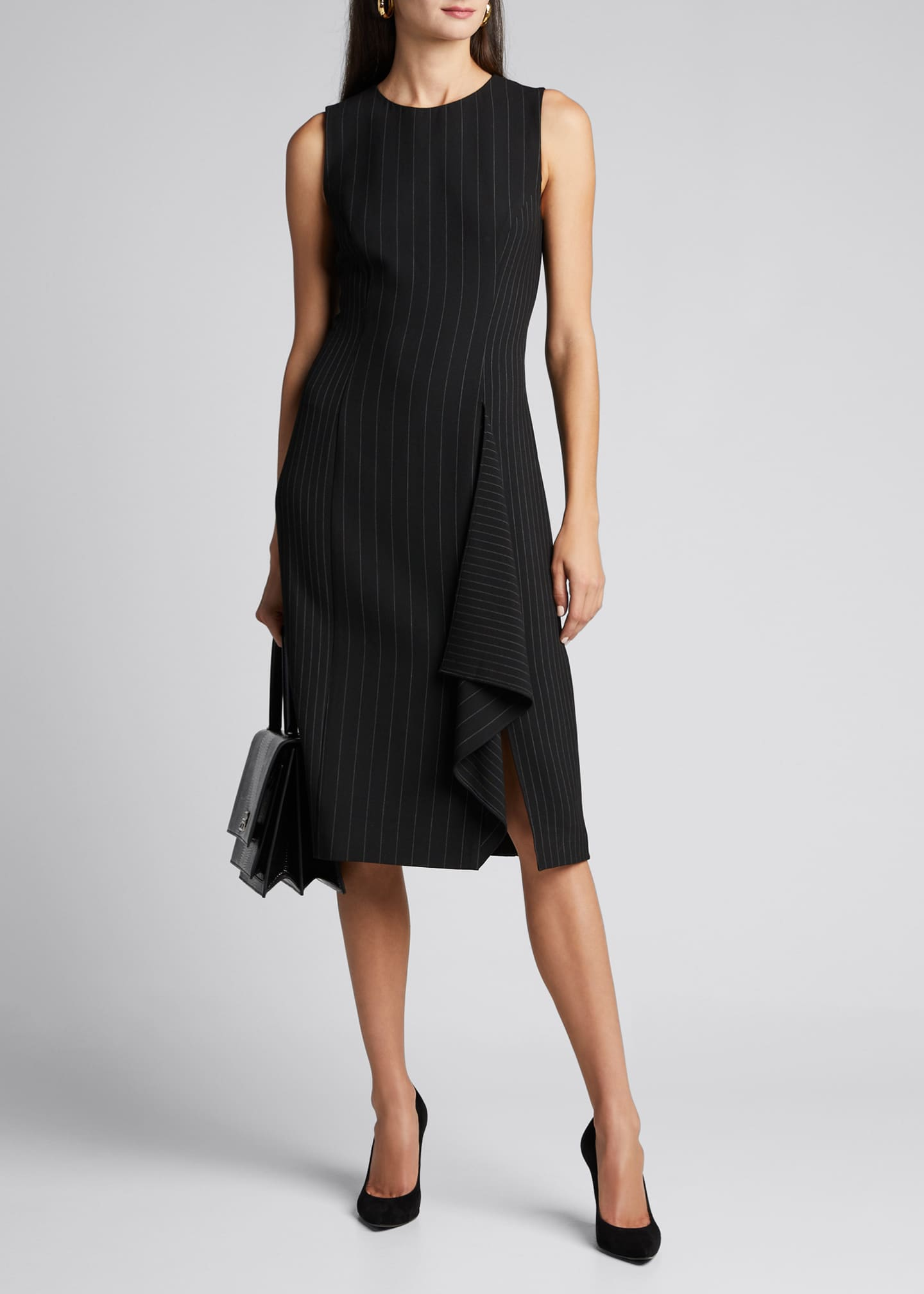 Diane von Furstenberg Elm Pinstripe Sleeveless Ruffle Dress