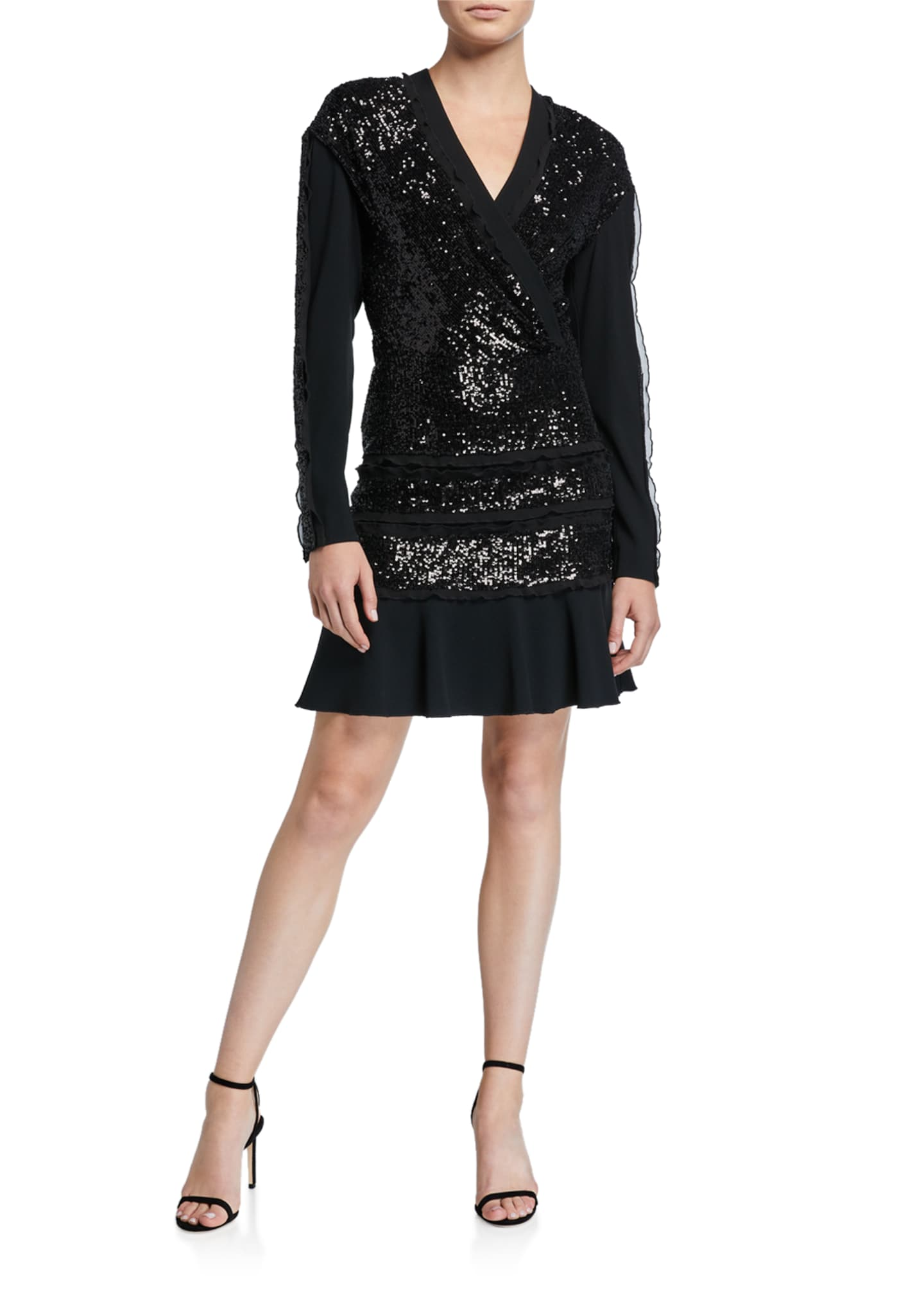 Diane von Furstenberg Mara Tiered Sequined Long-Sleeve Ruffle