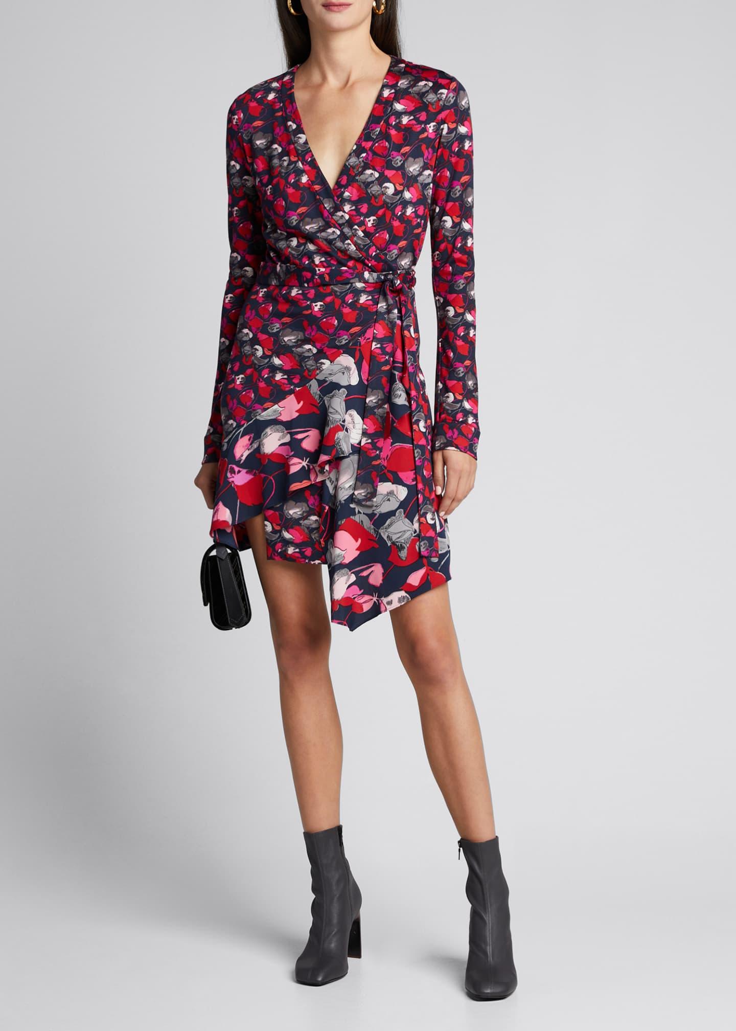 Diane von Furstenberg Elita Floral Long-Sleeve Asymmetrical Wrap