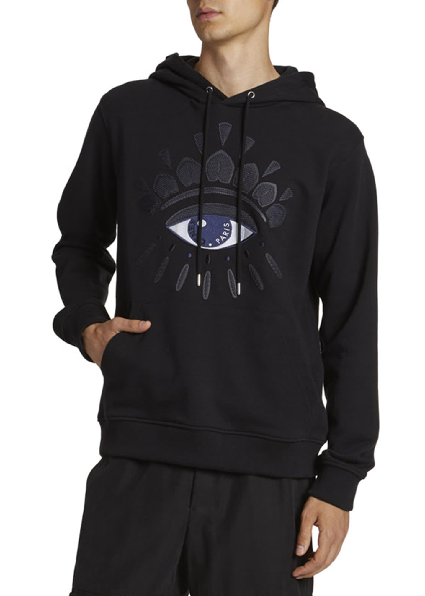 Image 1 of 2: Men's Mesh Eye Graphic Pullover Hoodie
