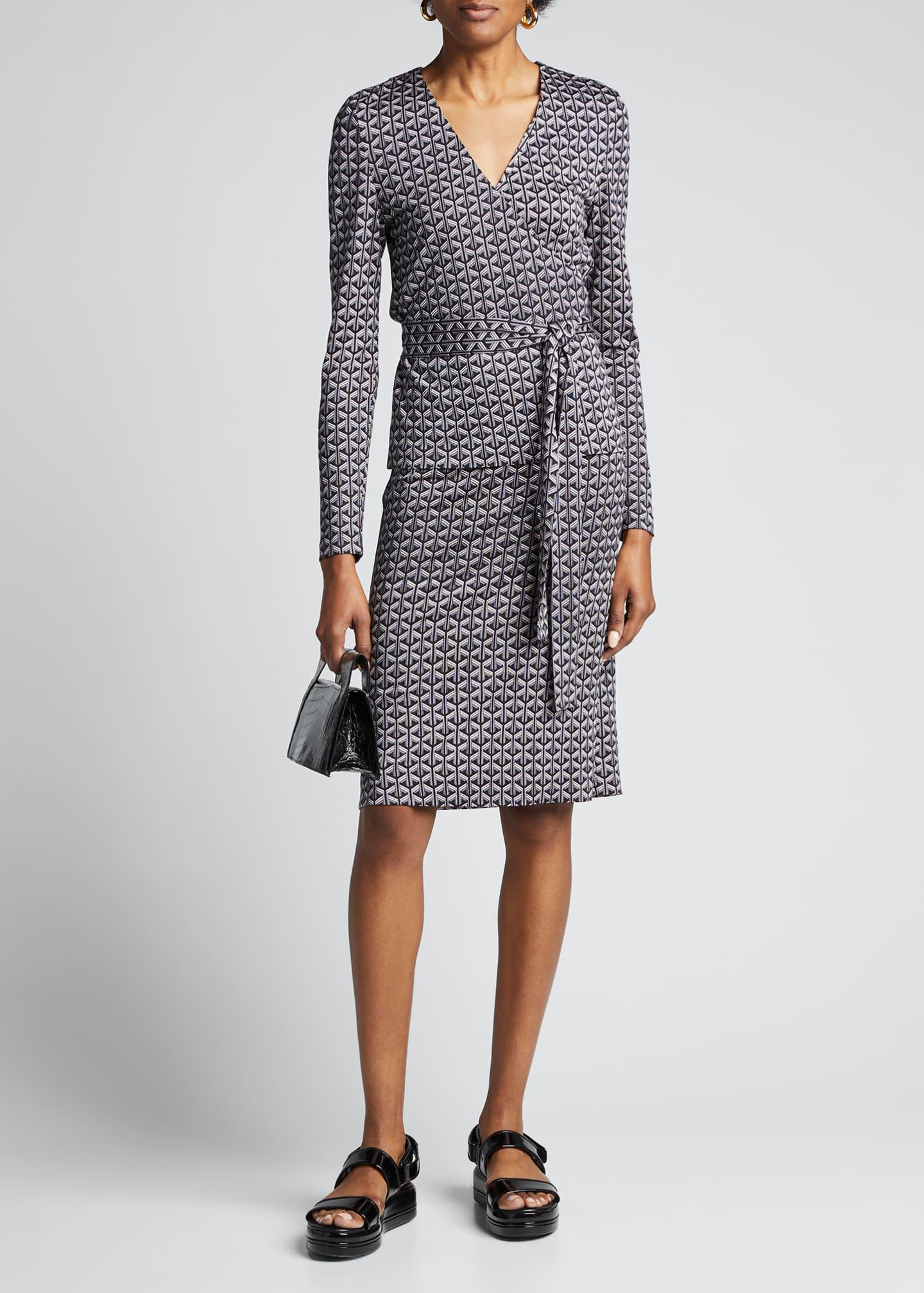 Diane von Furstenberg Karis Geo-Print Long-Sleeve Wrap Dress