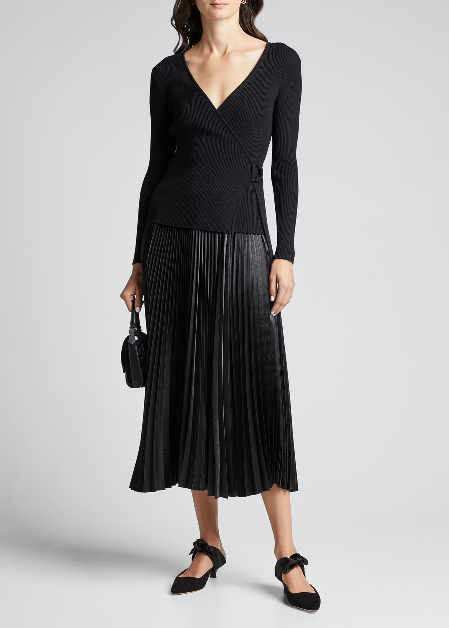 Diane von Furstenberg Gardenia D-Ring Wool Wrap Sweater