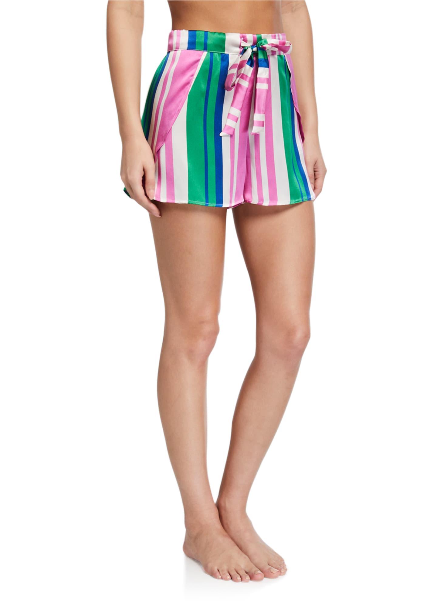 Hesper Fox Gigi Striped Silk Shorts