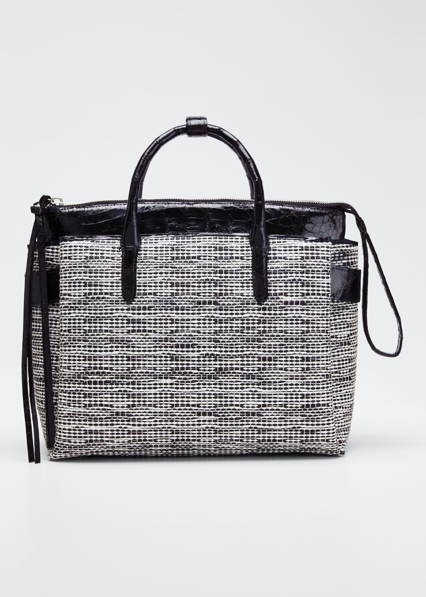Nancy Gonzalez Cristie Medium Linen Crocodile Tote Bag