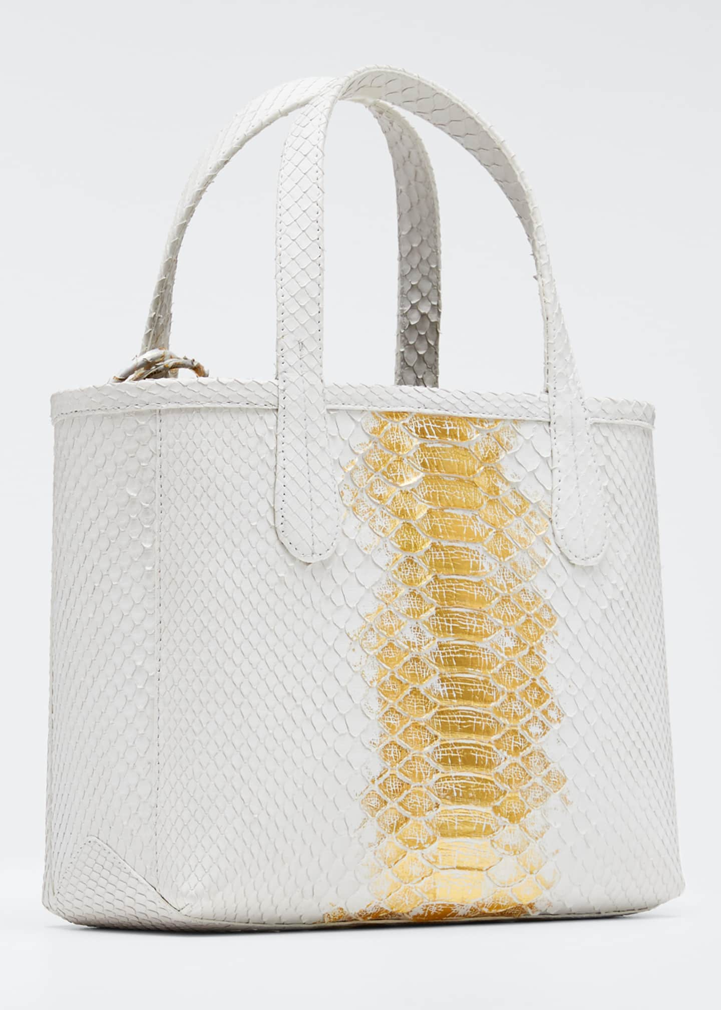 Image 3 of 5: Erica Mini Python Leaf Tote Bag