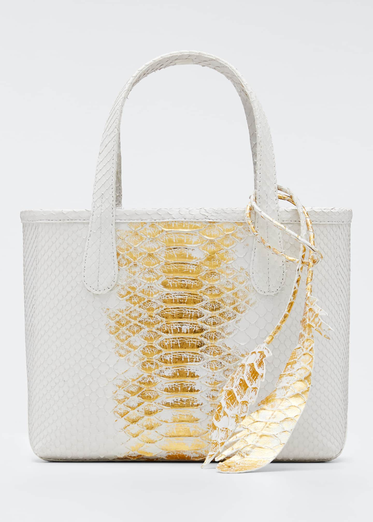 Image 1 of 5: Erica Mini Python Leaf Tote Bag