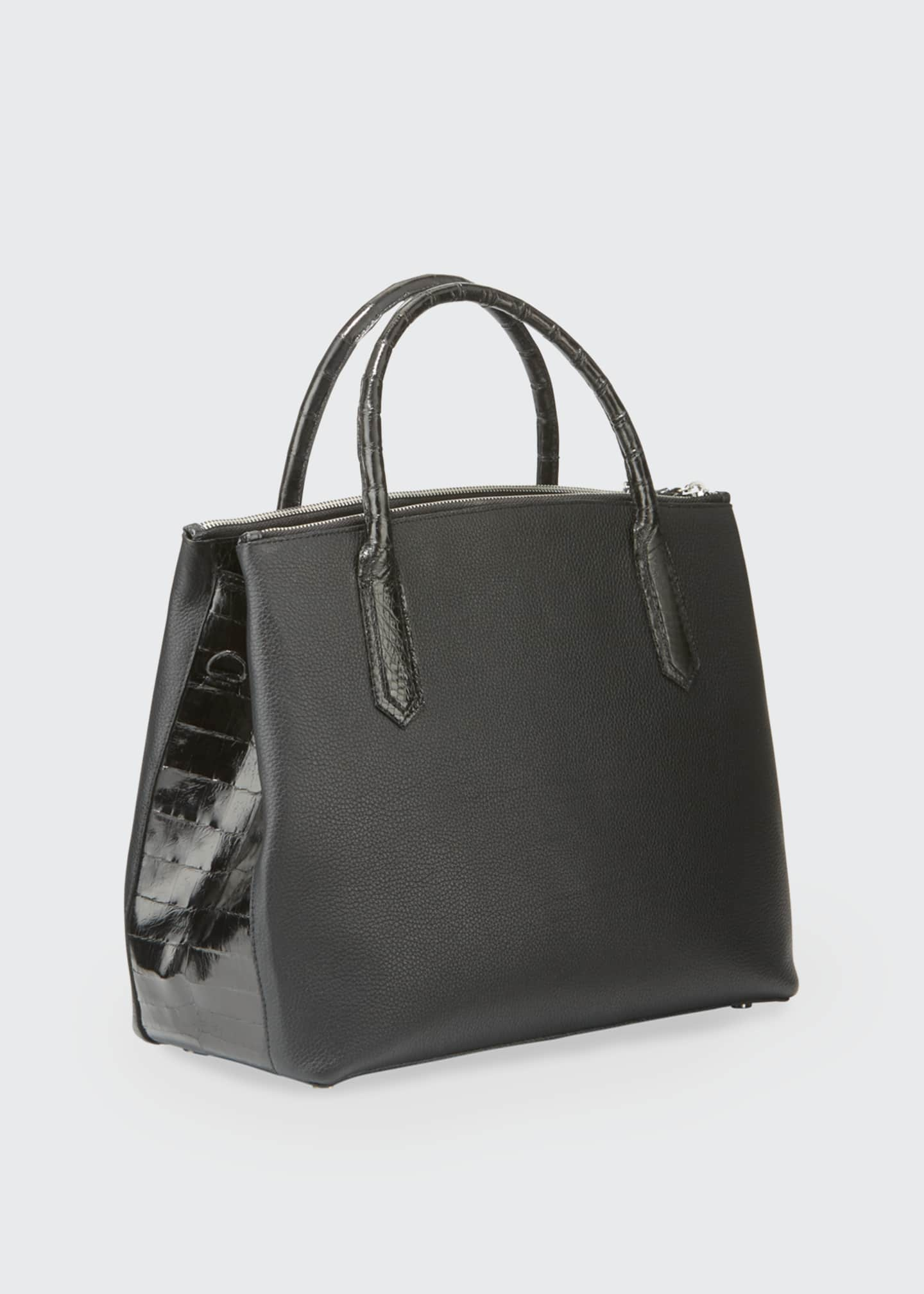 Image 2 of 3: Nyx Medium Zip Croc-Trim Leather Tote Bag