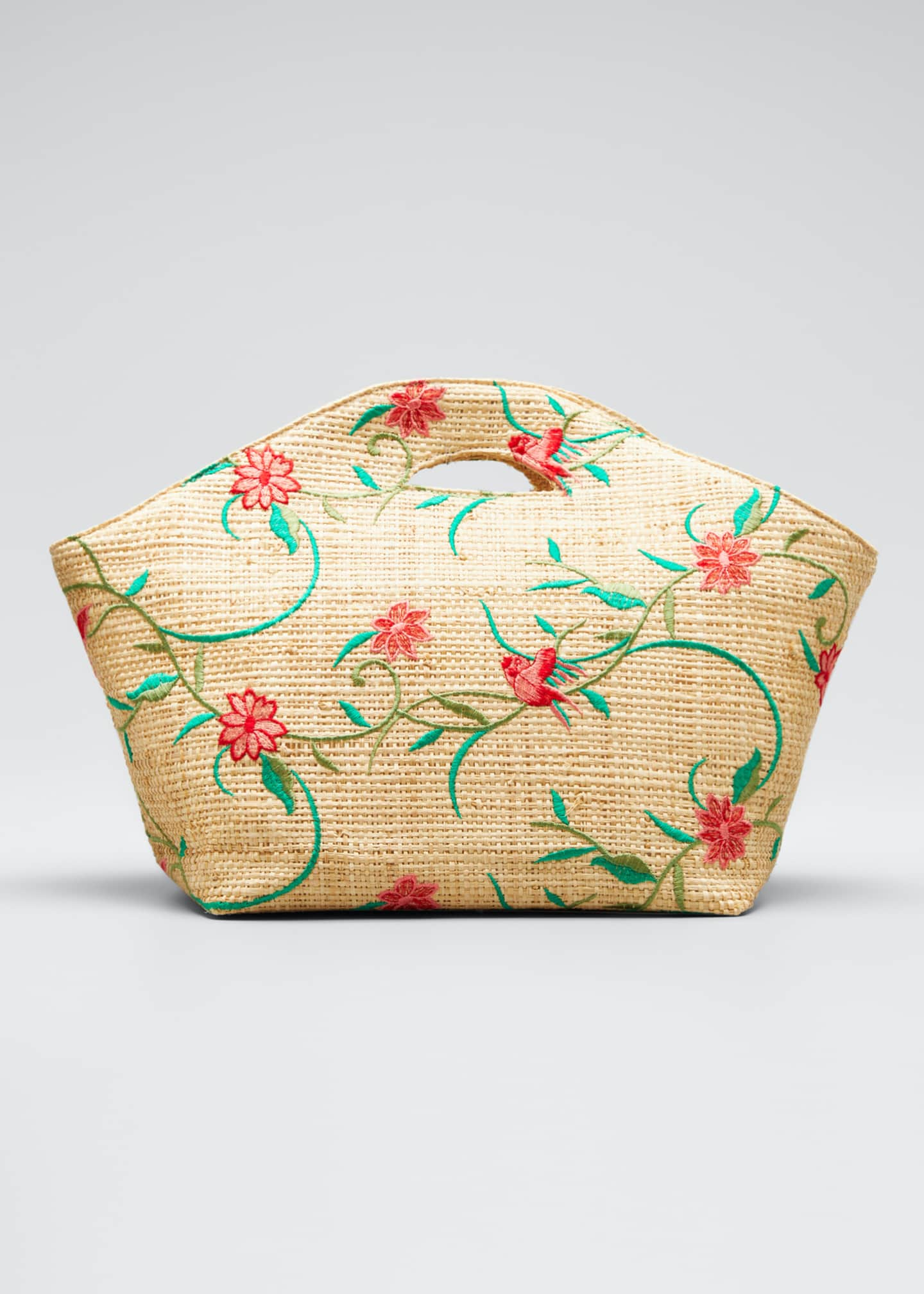 Maria La Rosa Agave Floral-Print Raffia Tote Bag