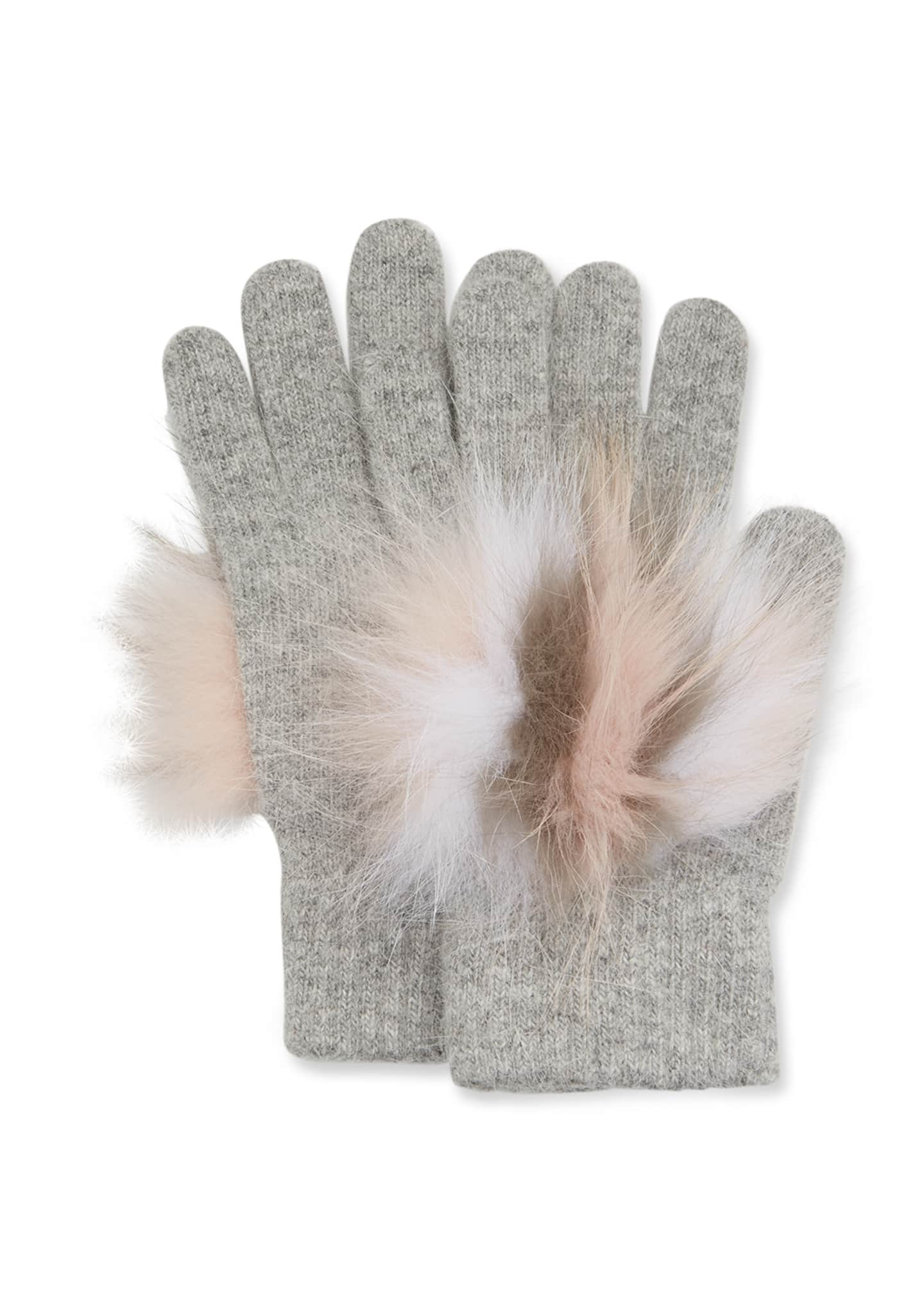 Image 1 of 1: Knit Gloves w/ Fox Fur Trim