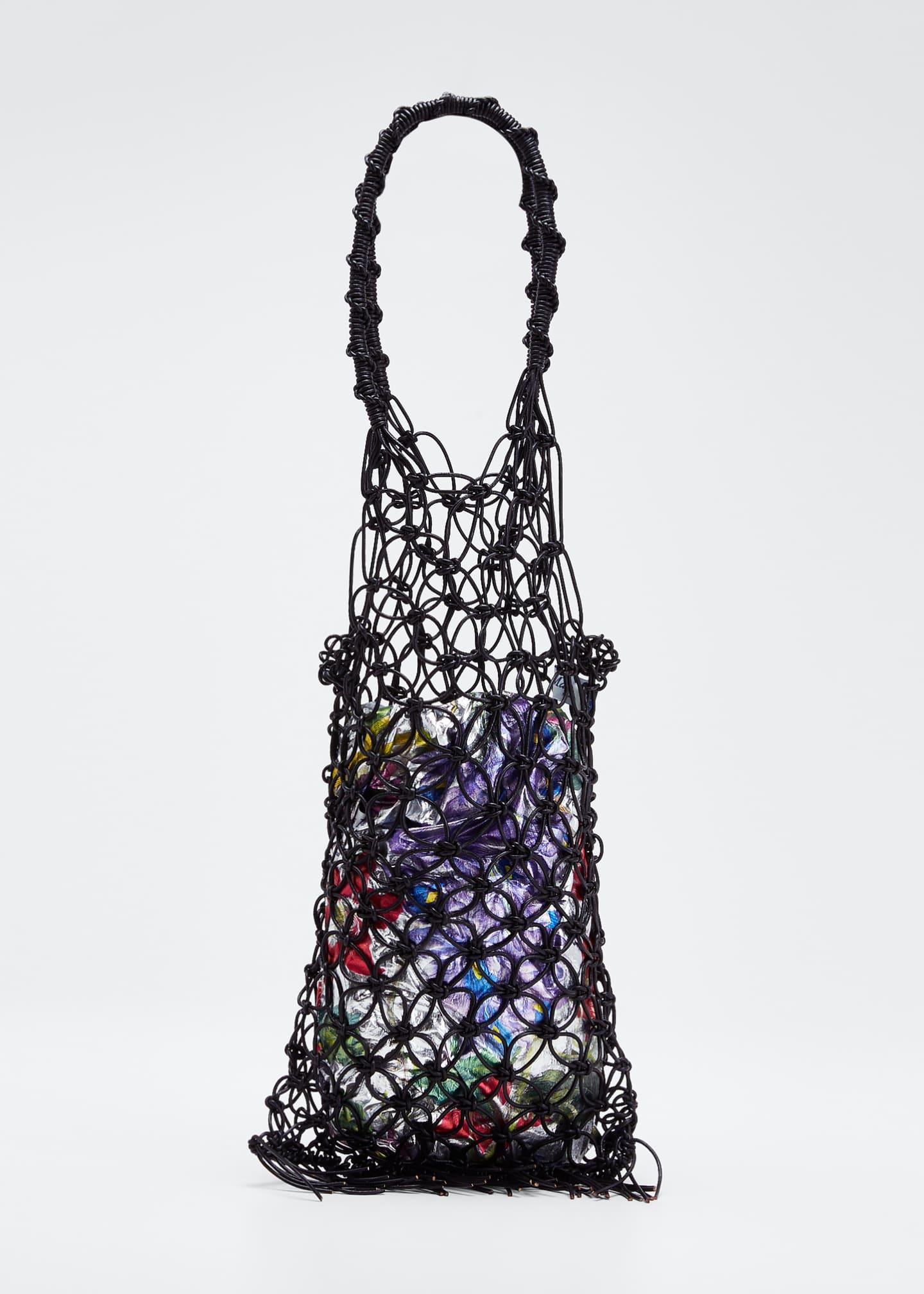 Maria La Rosa Camomille Leather Woven Tote Bag