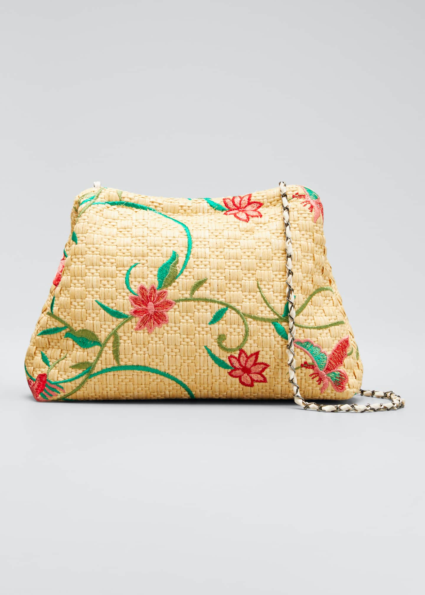 Maria La Rosa Vague Small Floral-Print Raffia Clutch