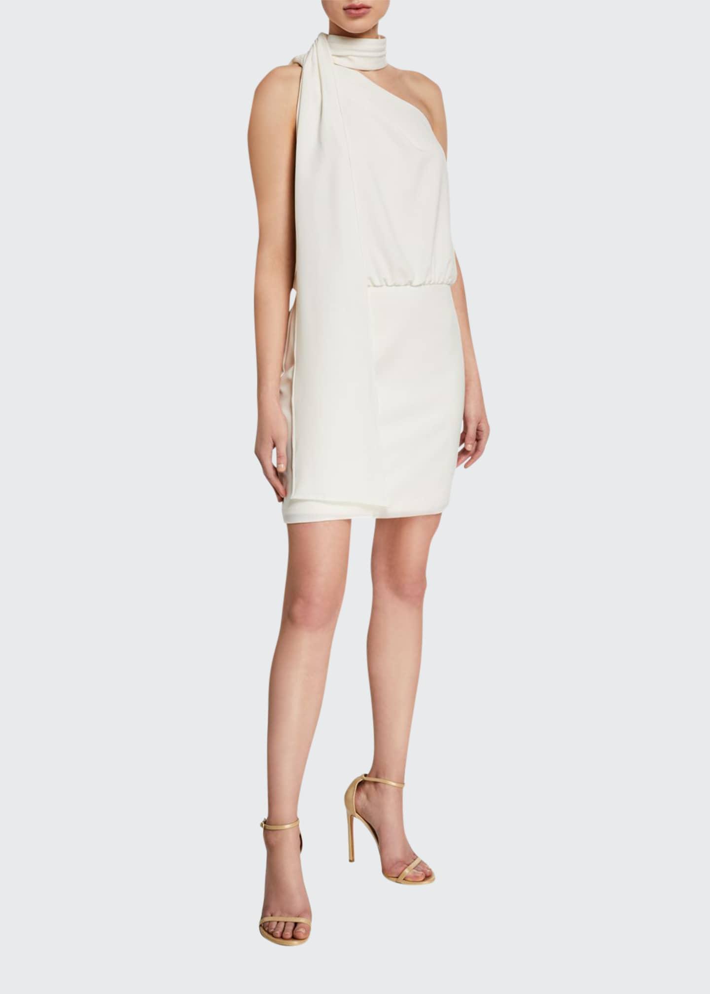 Halston Scarf Neck Sleeveless Cocktail Dress