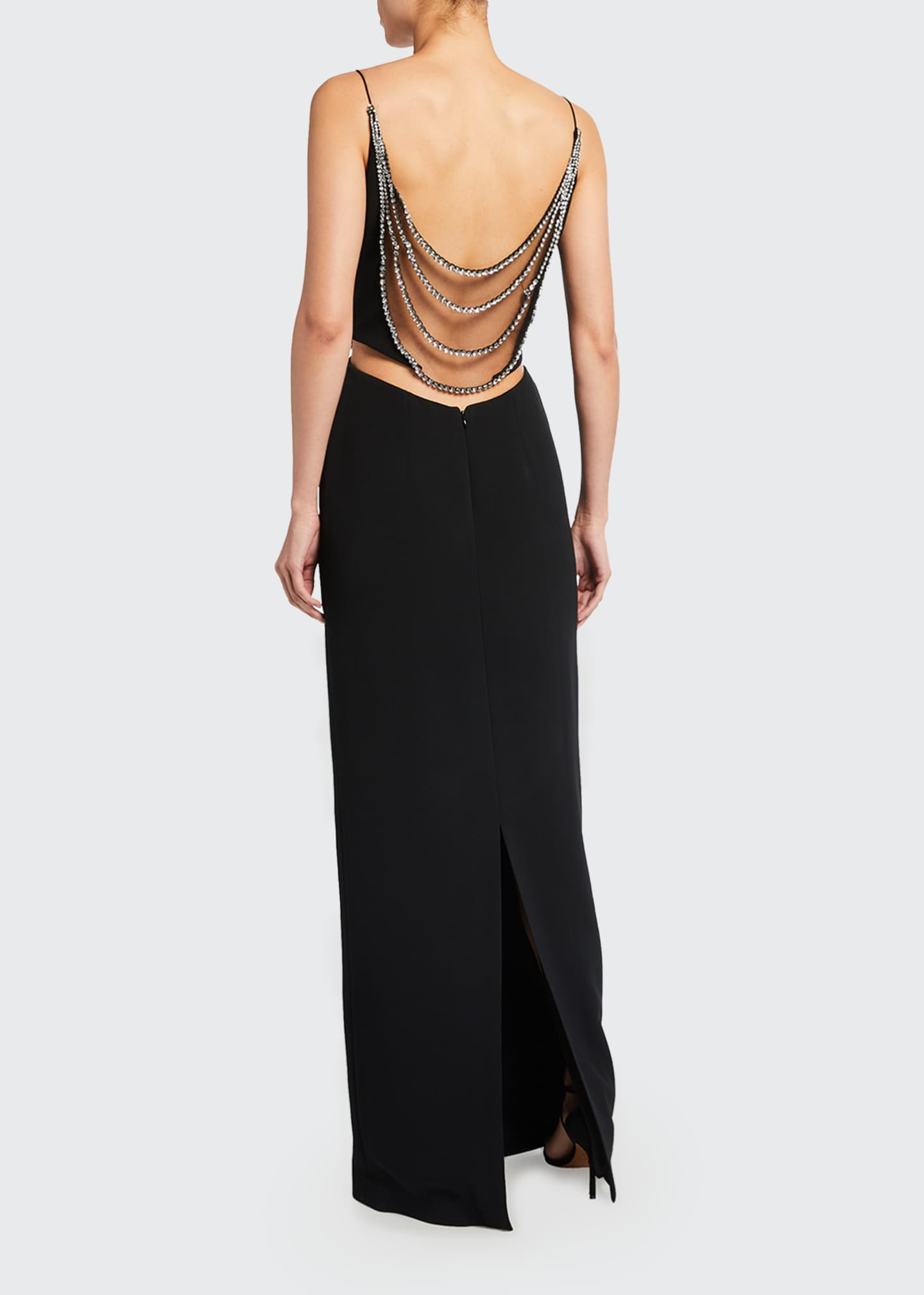 Image 2 of 2: Draped-Beaded Column Gown
