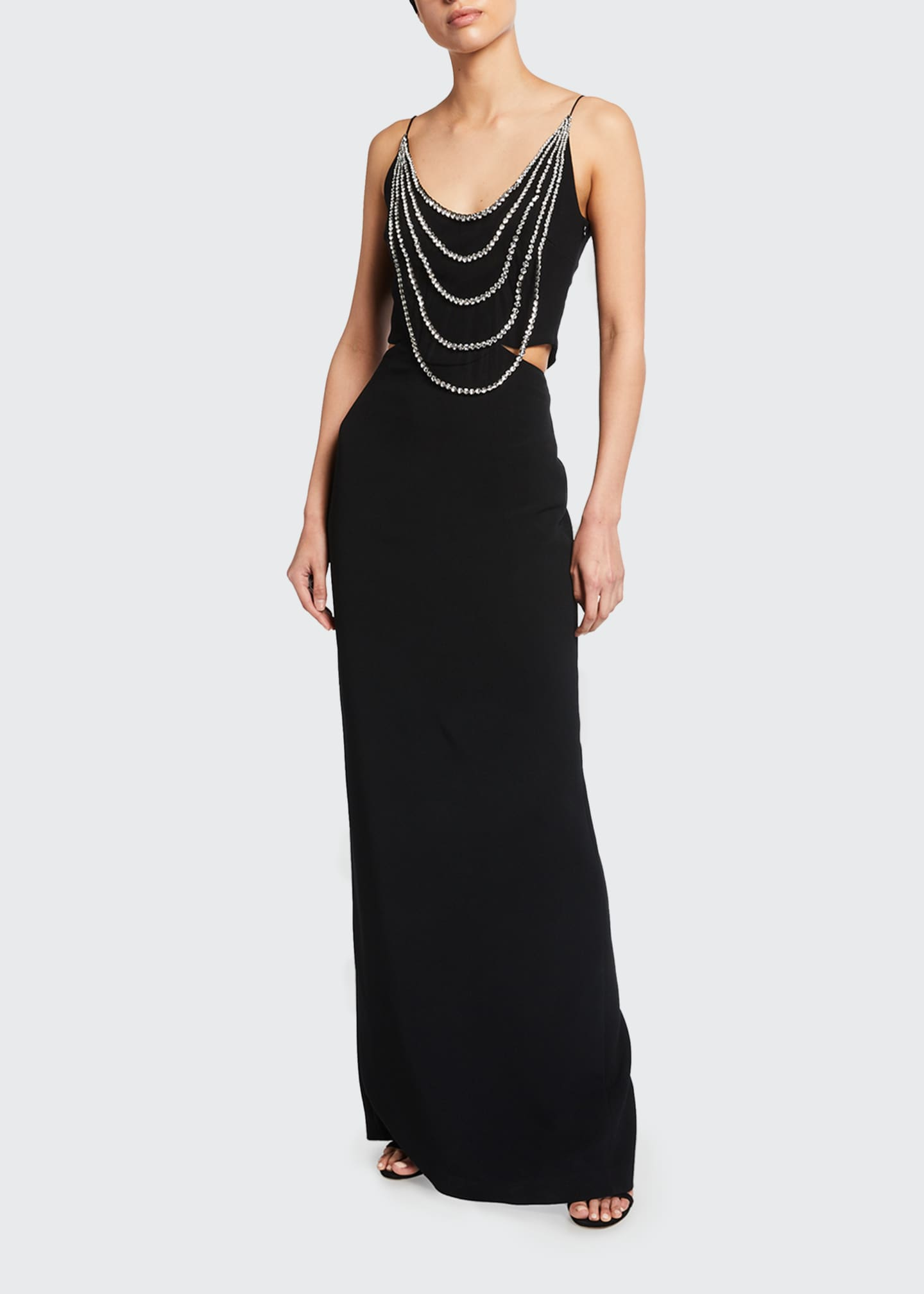 Image 1 of 2: Draped-Beaded Column Gown