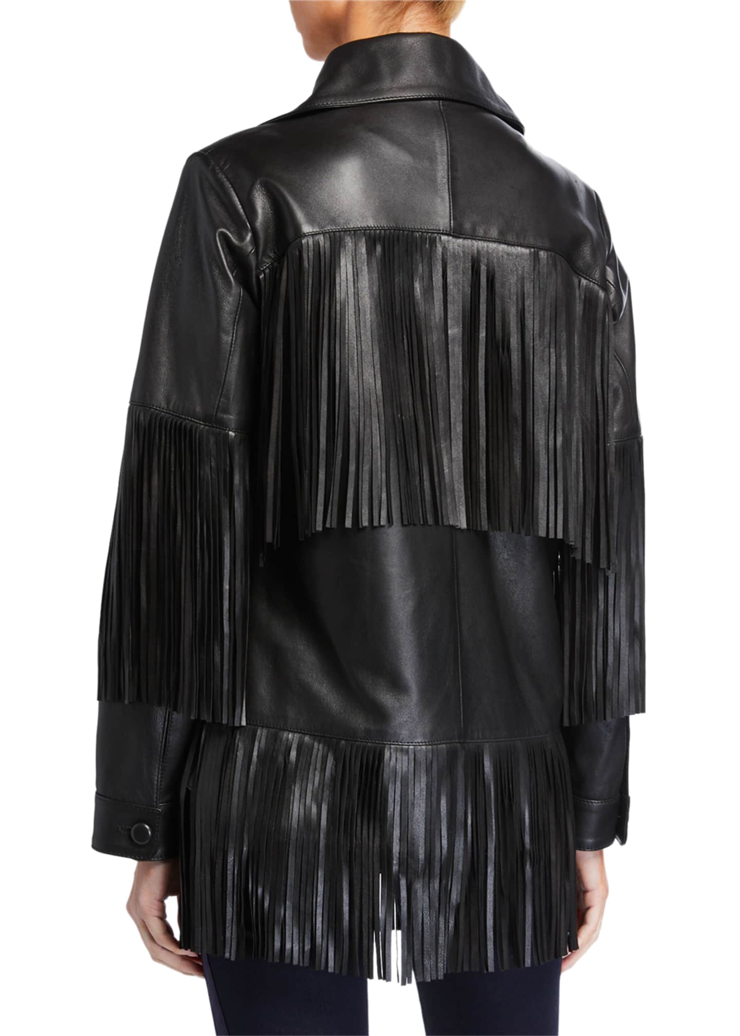 Image 2 of 3: Rimon Lamb Leather Fringe Jacket, Black