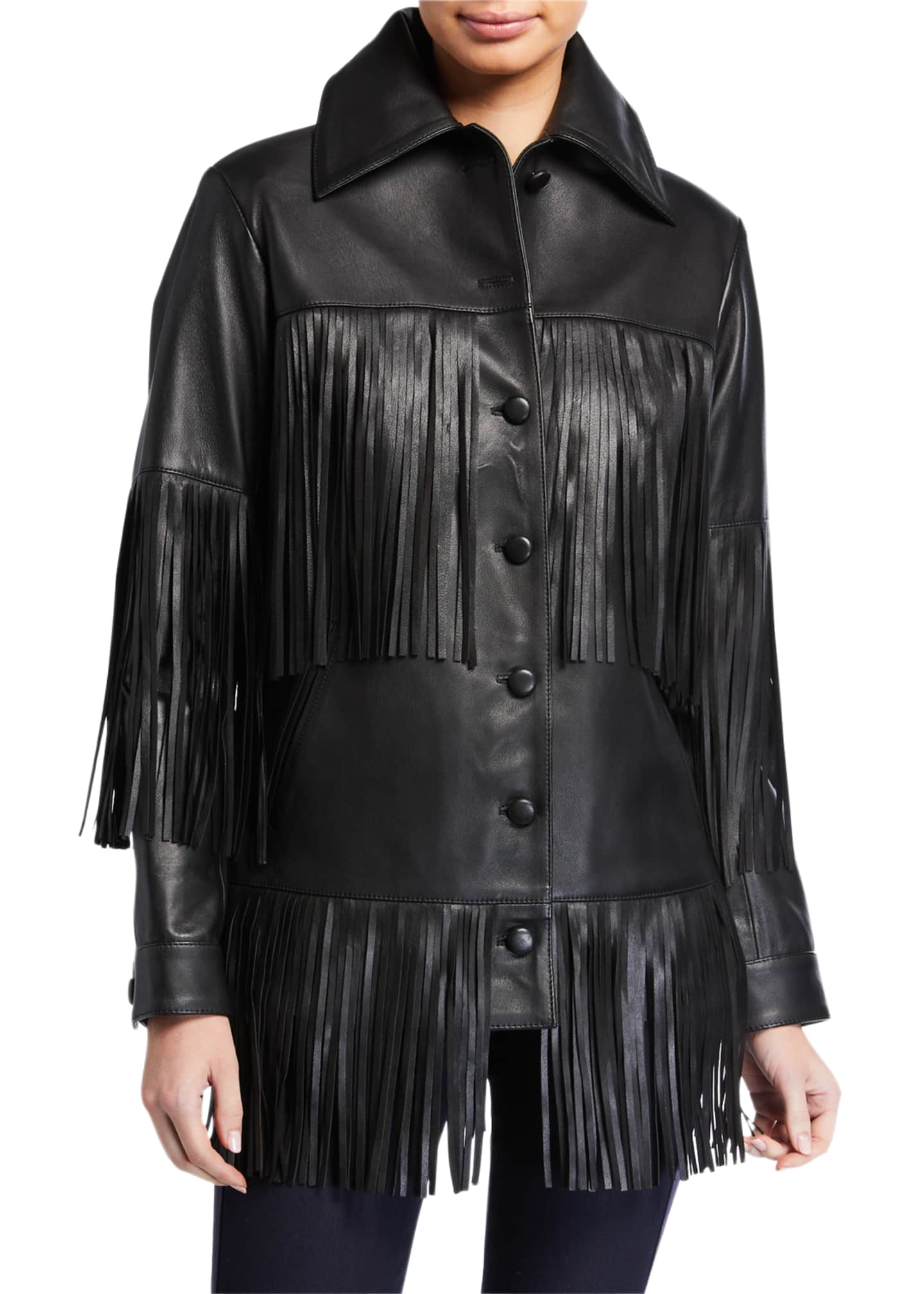 Image 3 of 3: Rimon Lamb Leather Fringe Jacket, Black