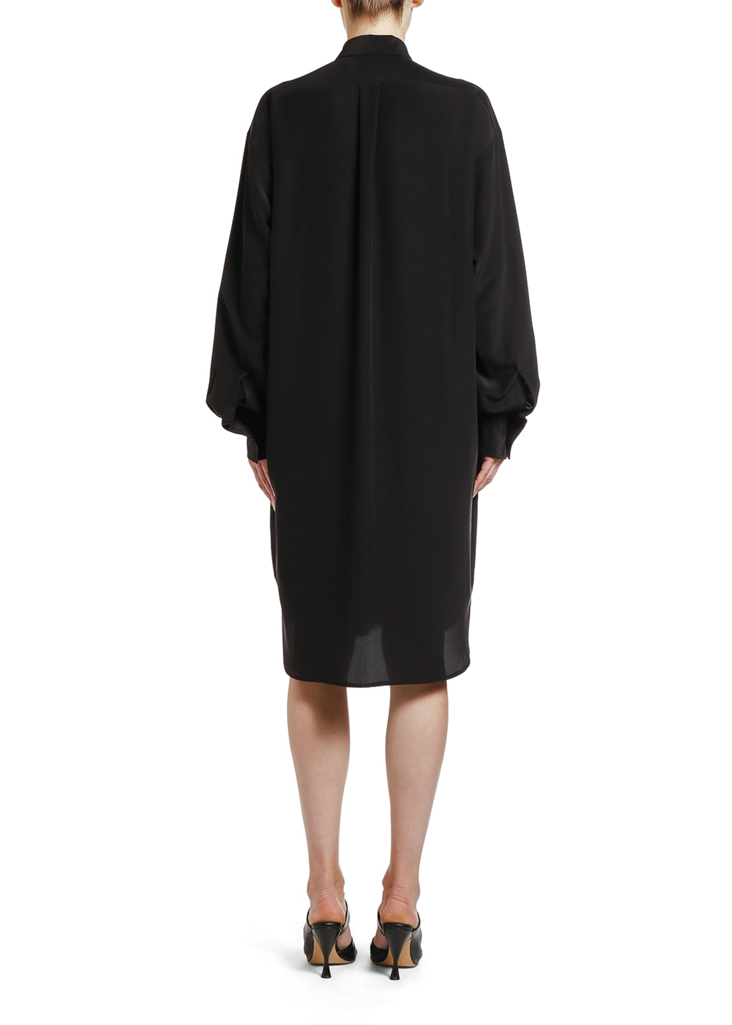 Image 2 of 2: Square Heat-Stamped Crepe de Chine Shirtdress