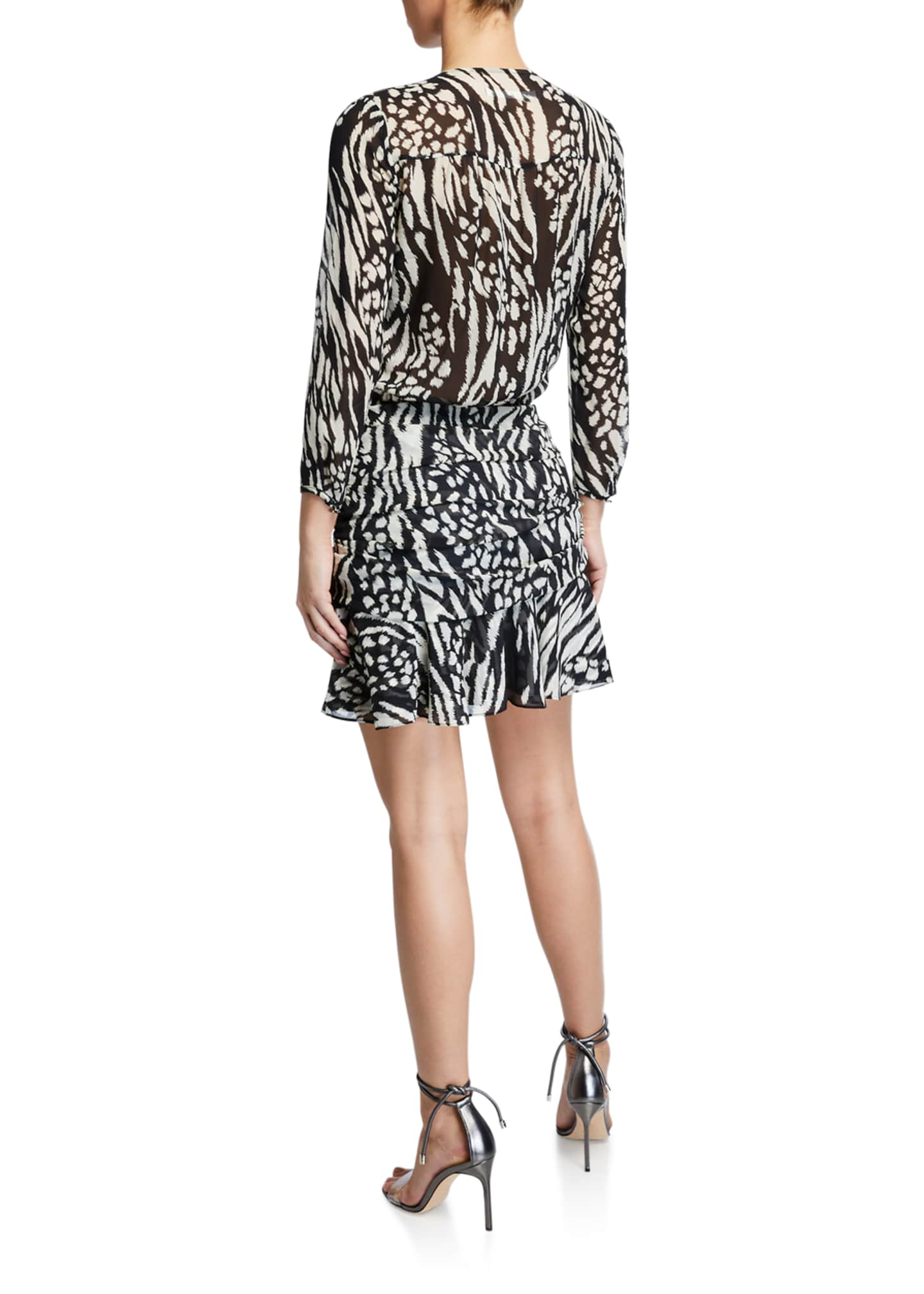 Image 2 of 2: Kiran Ruched Long-Sleeve Flounce Dress
