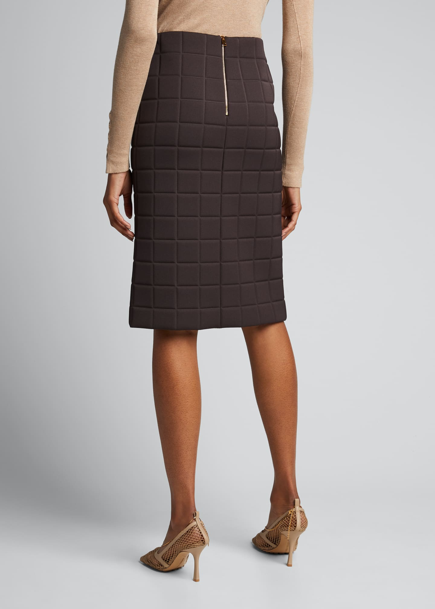 Image 2 of 4: Quilted Satin Pencil Skirt