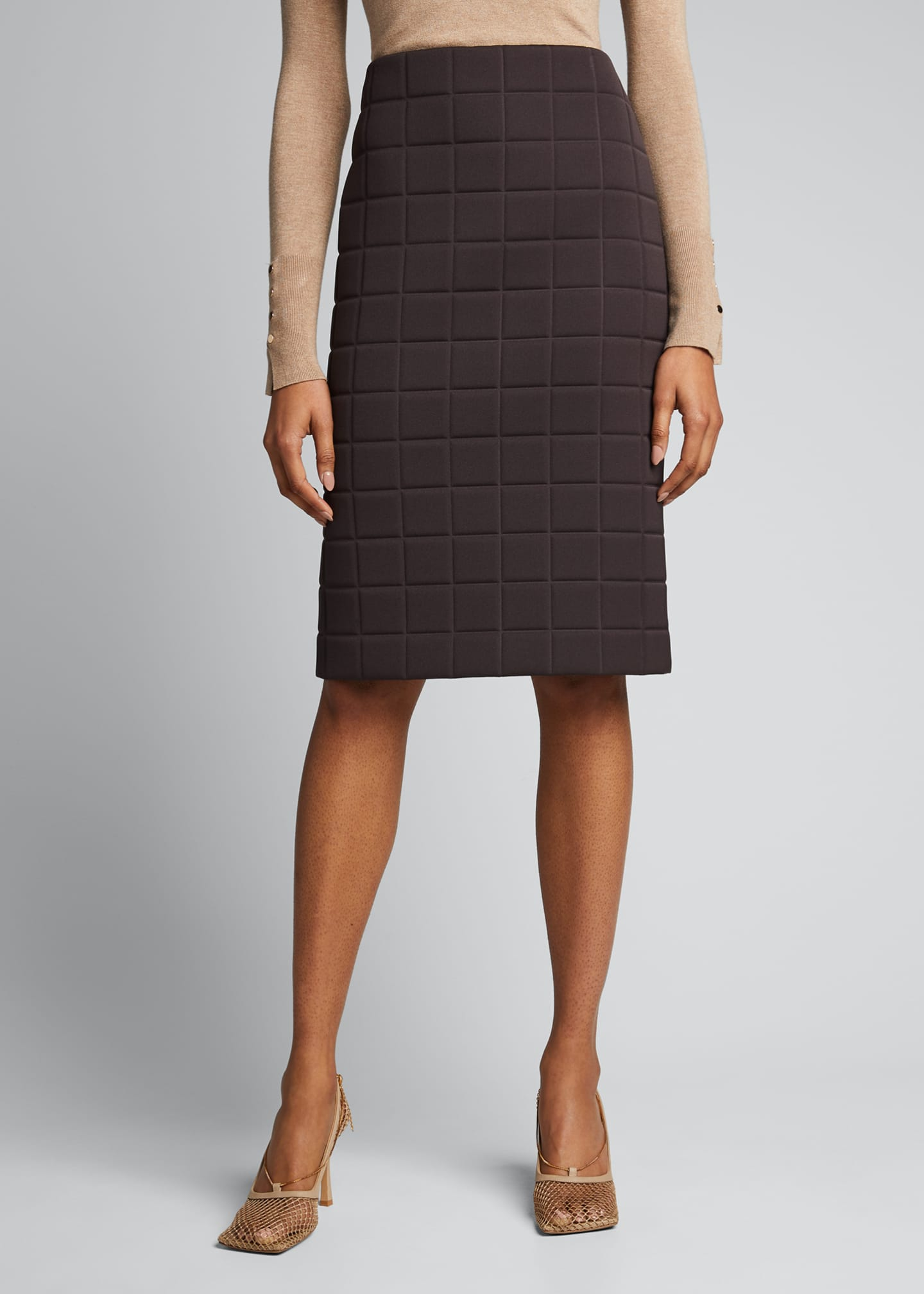Image 3 of 4: Quilted Satin Pencil Skirt