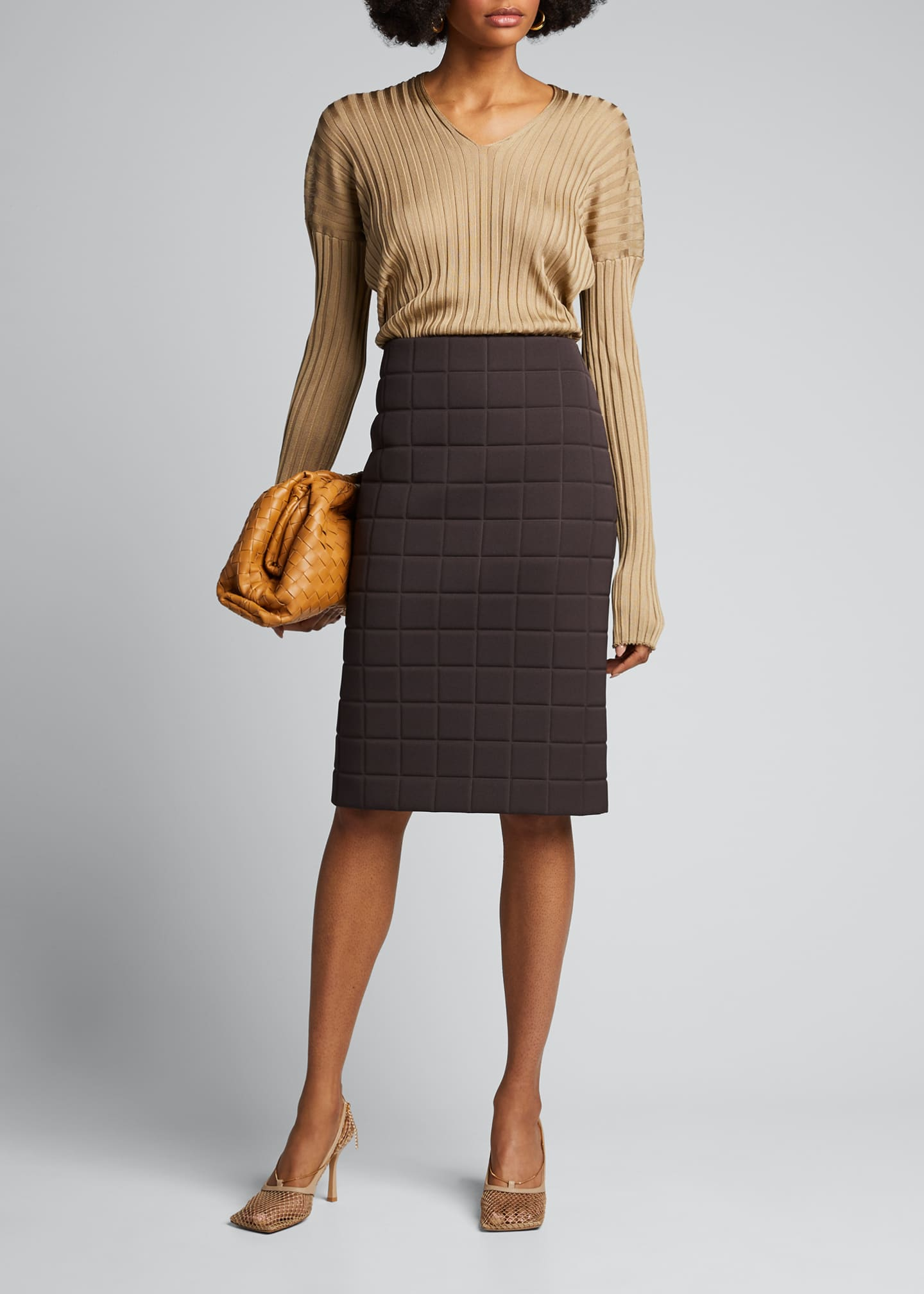 Image 1 of 4: Quilted Satin Pencil Skirt