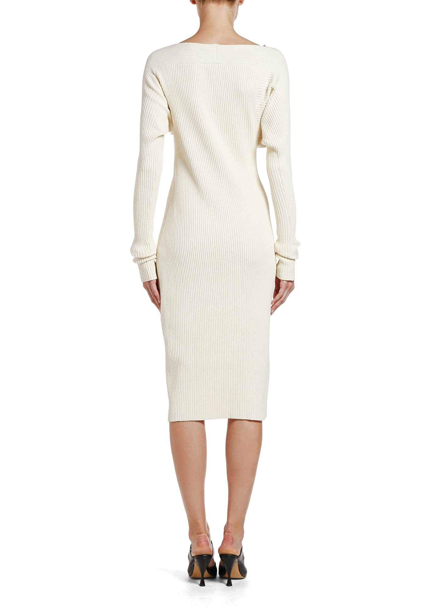 Image 2 of 2: Ruched Ribbed Sweater Dress