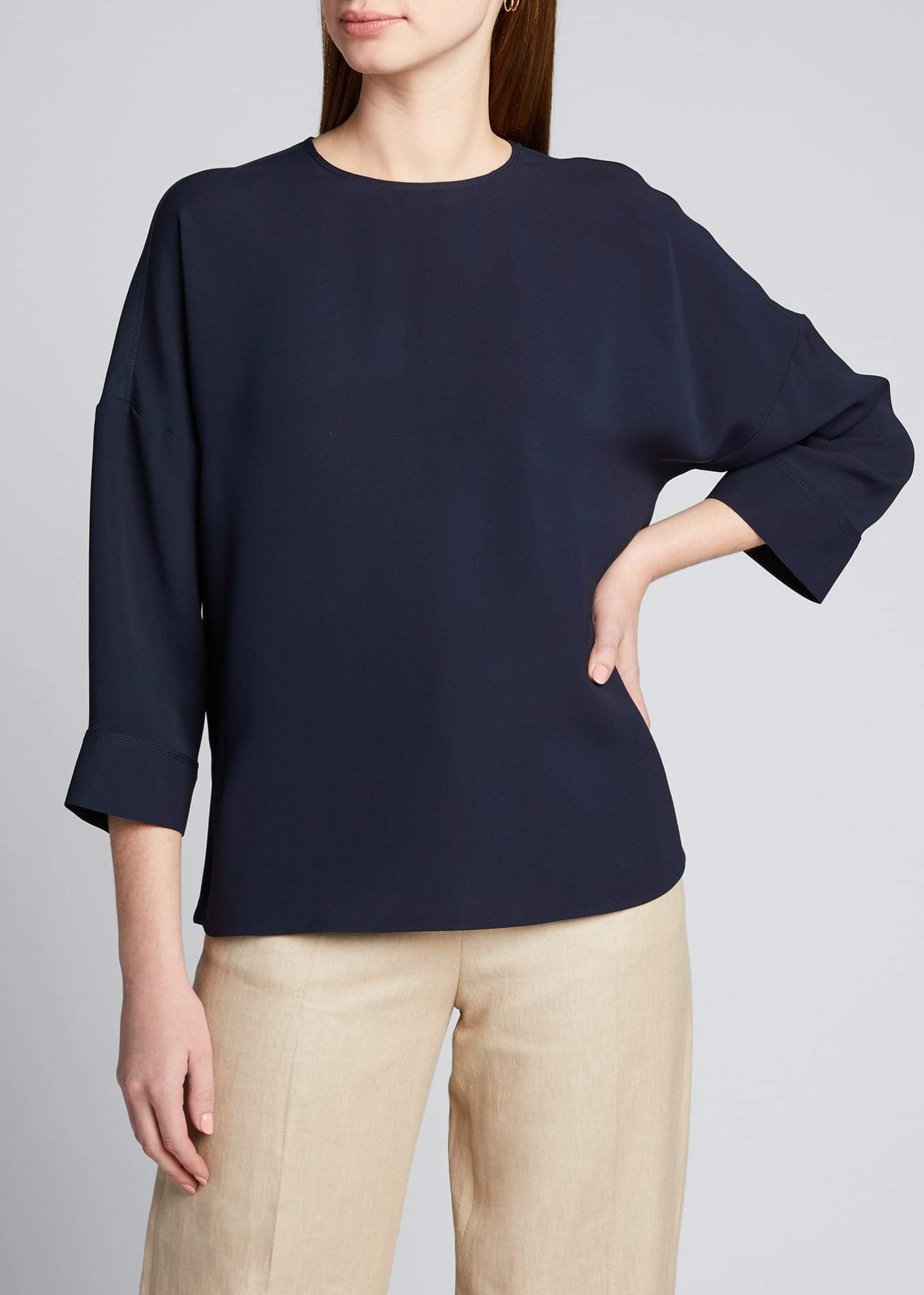Image 3 of 5: Emelyn 3/4-Sleeve Silk Blouse