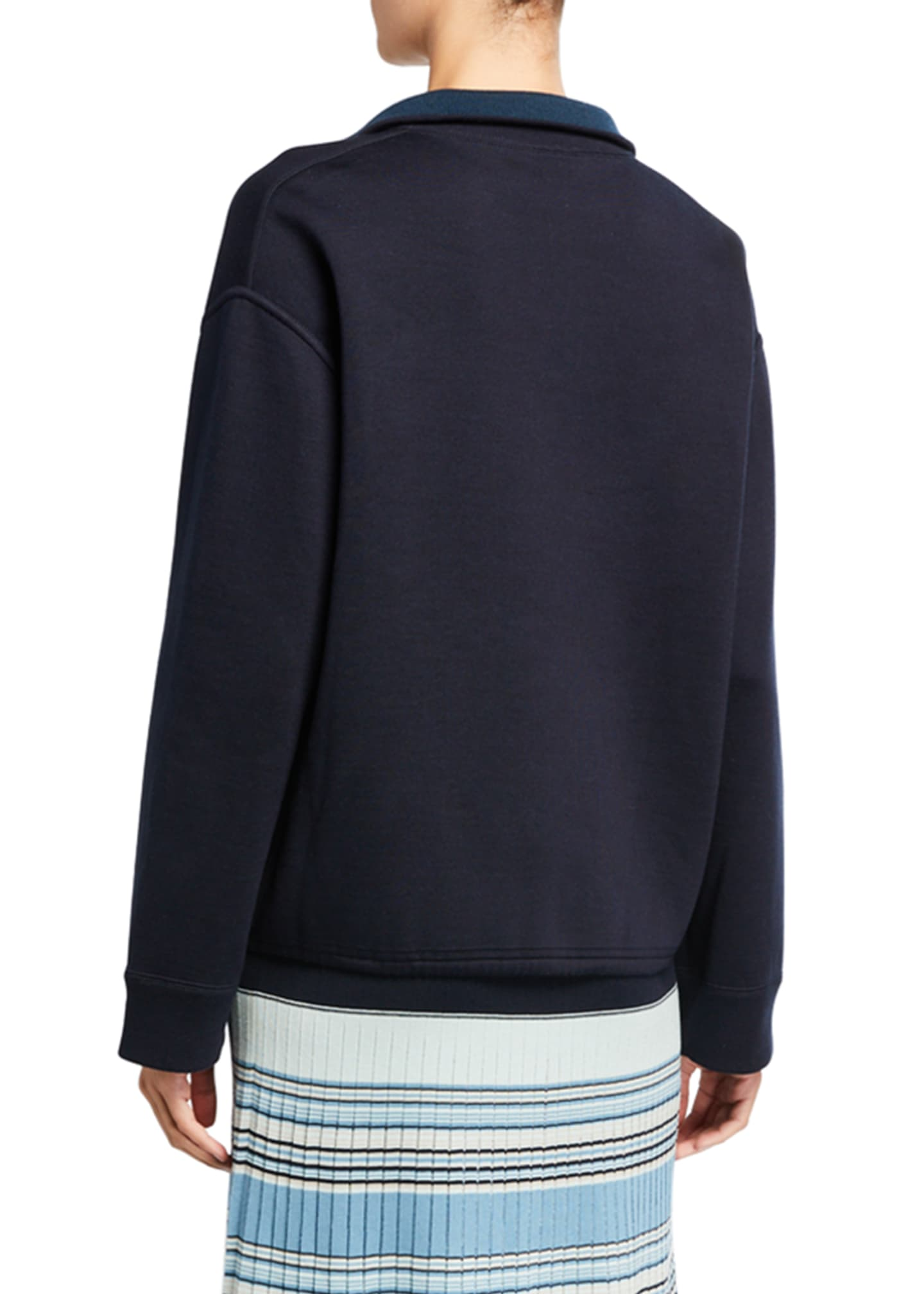 Image 2 of 2: Silk-Knit Zip-Front Bomber Sweater