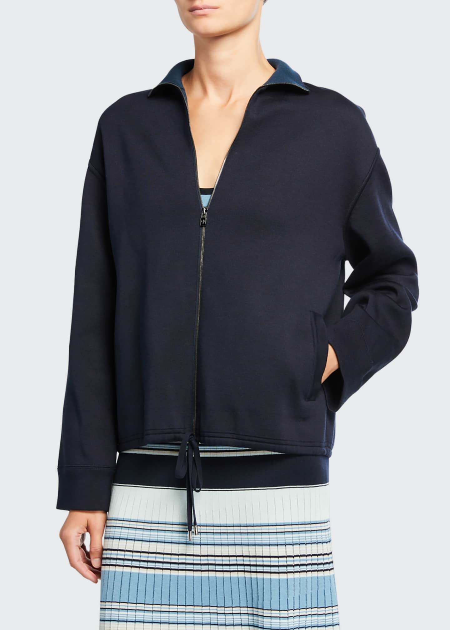 Image 2 of 3: Silk-Knit Zip-Front Bomber Sweater