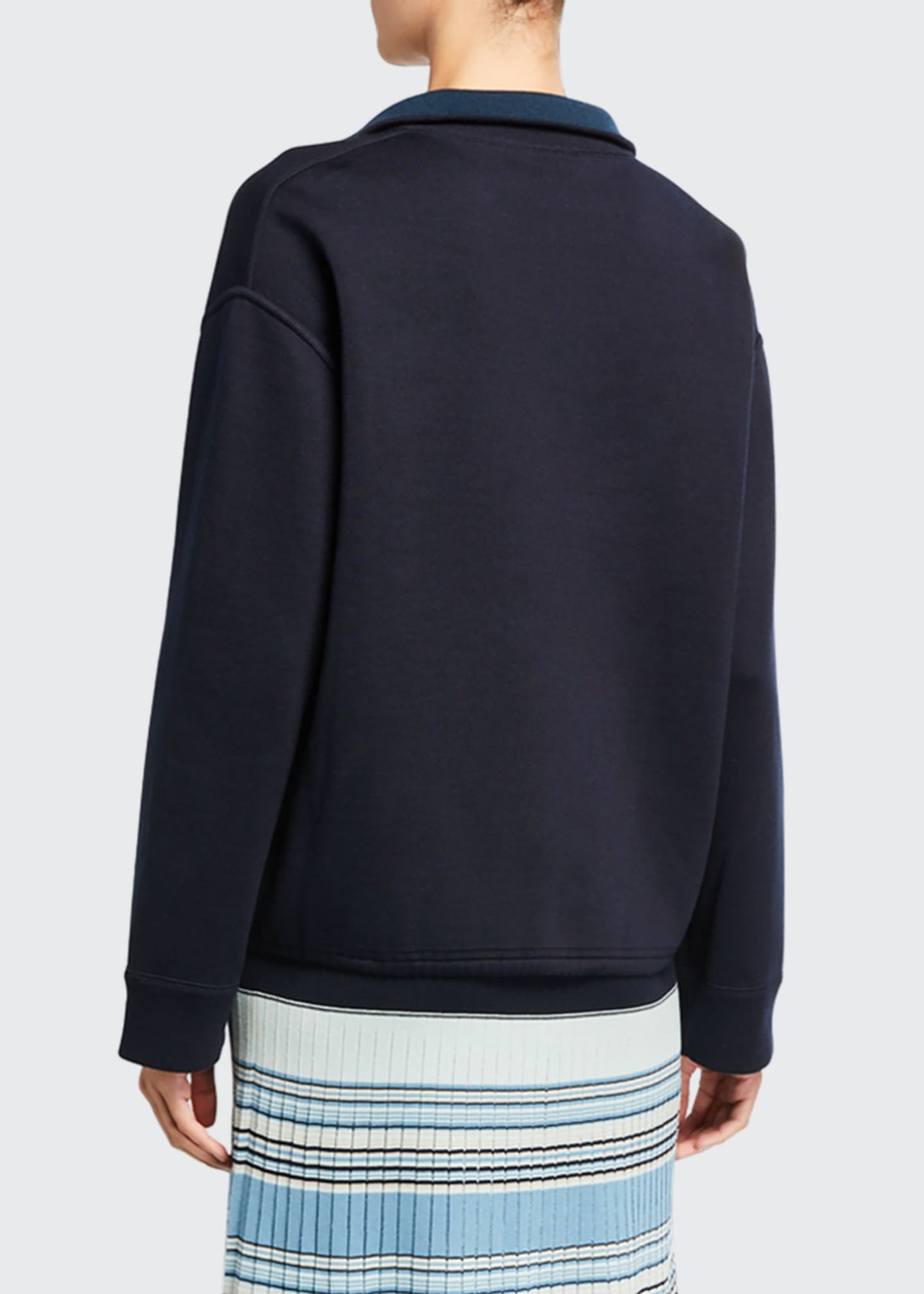 Image 3 of 3: Silk-Knit Zip-Front Bomber Sweater