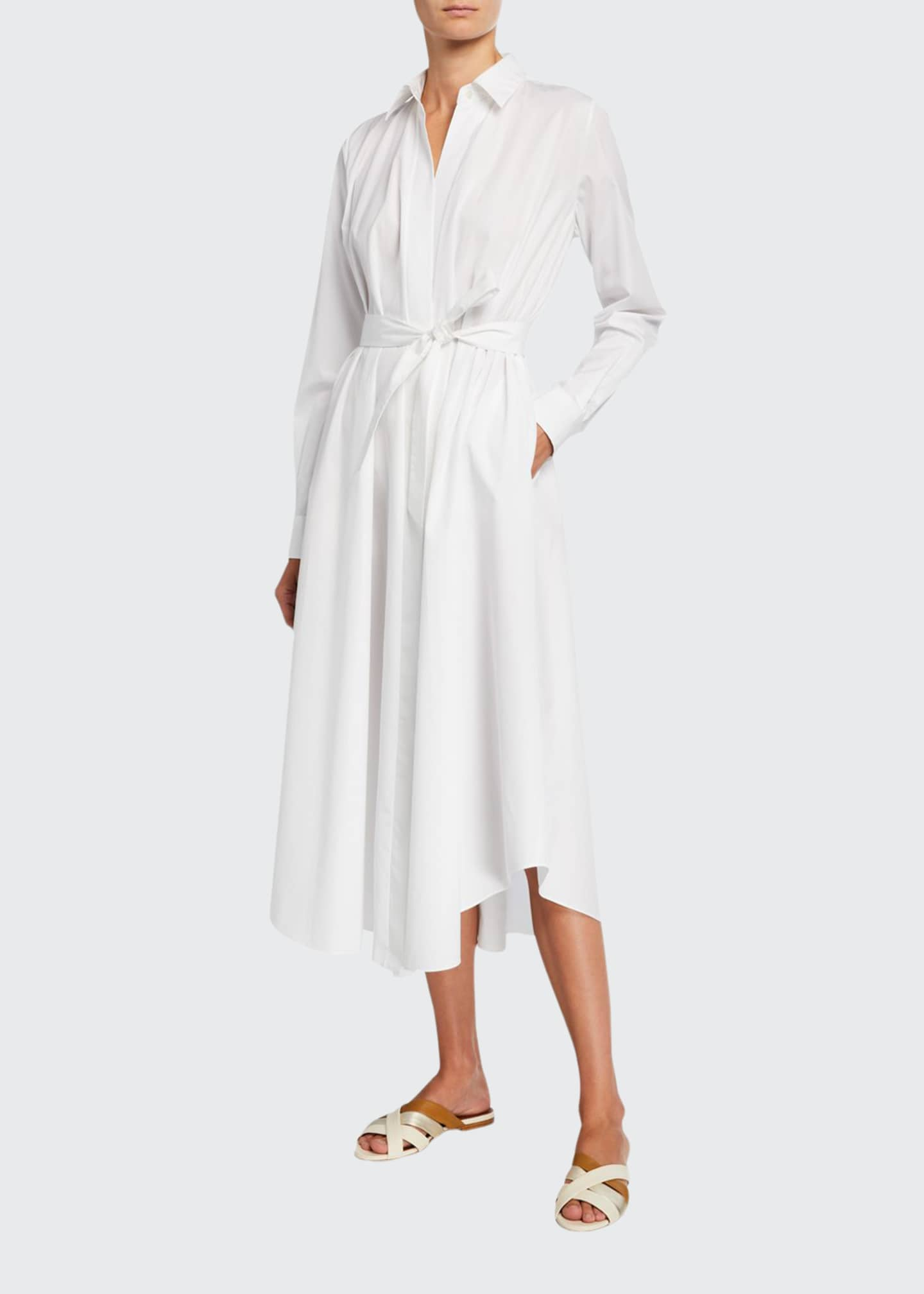 Loro Piana Poplin Belted Flare Dress
