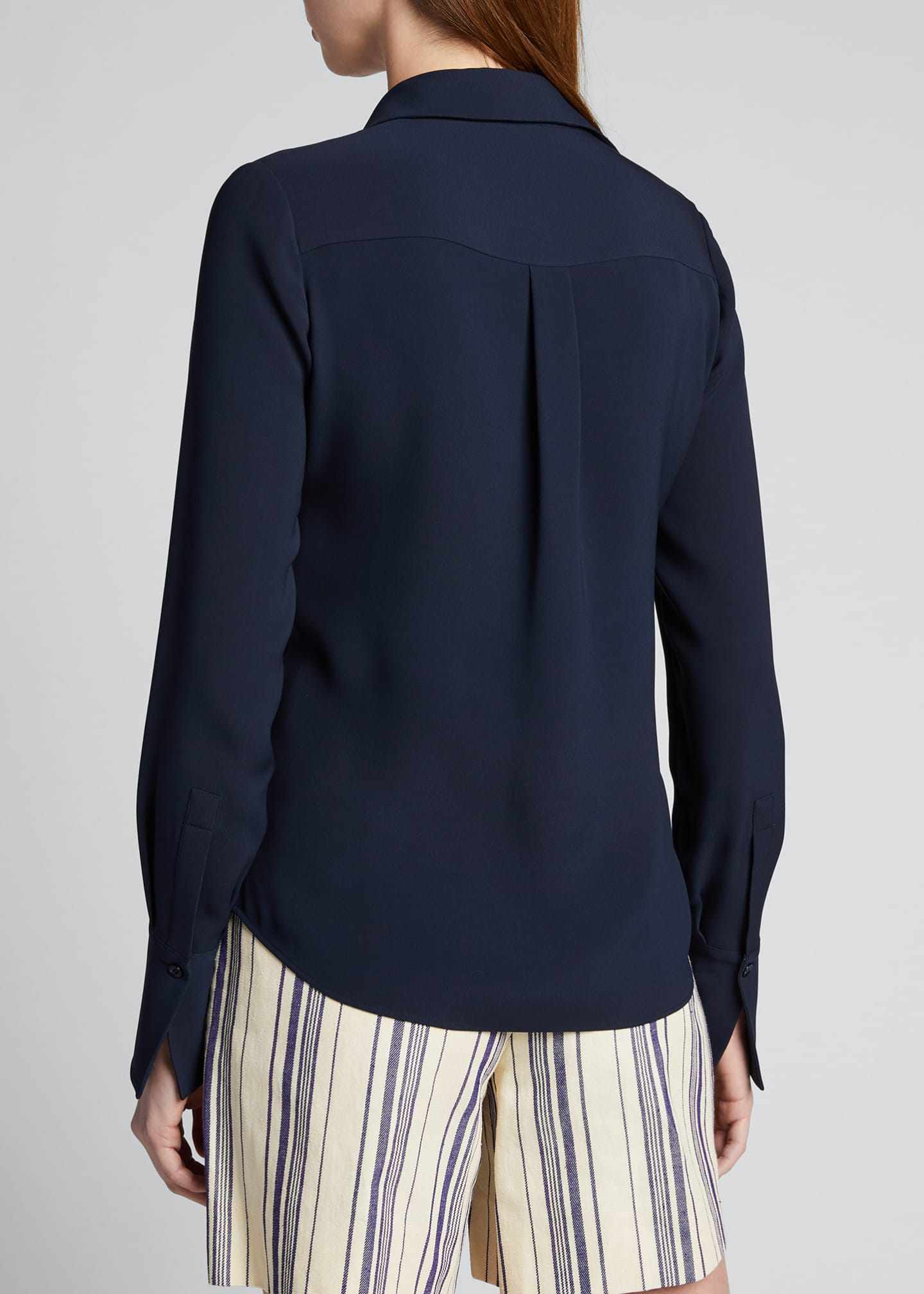 Image 2 of 5: Hely Silk Button-Front Blouse