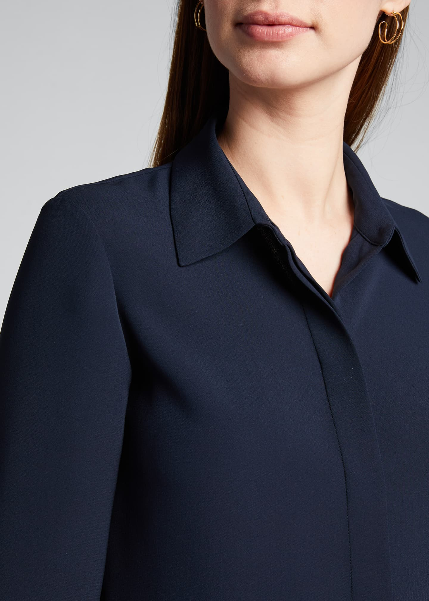 Image 4 of 5: Hely Silk Button-Front Blouse