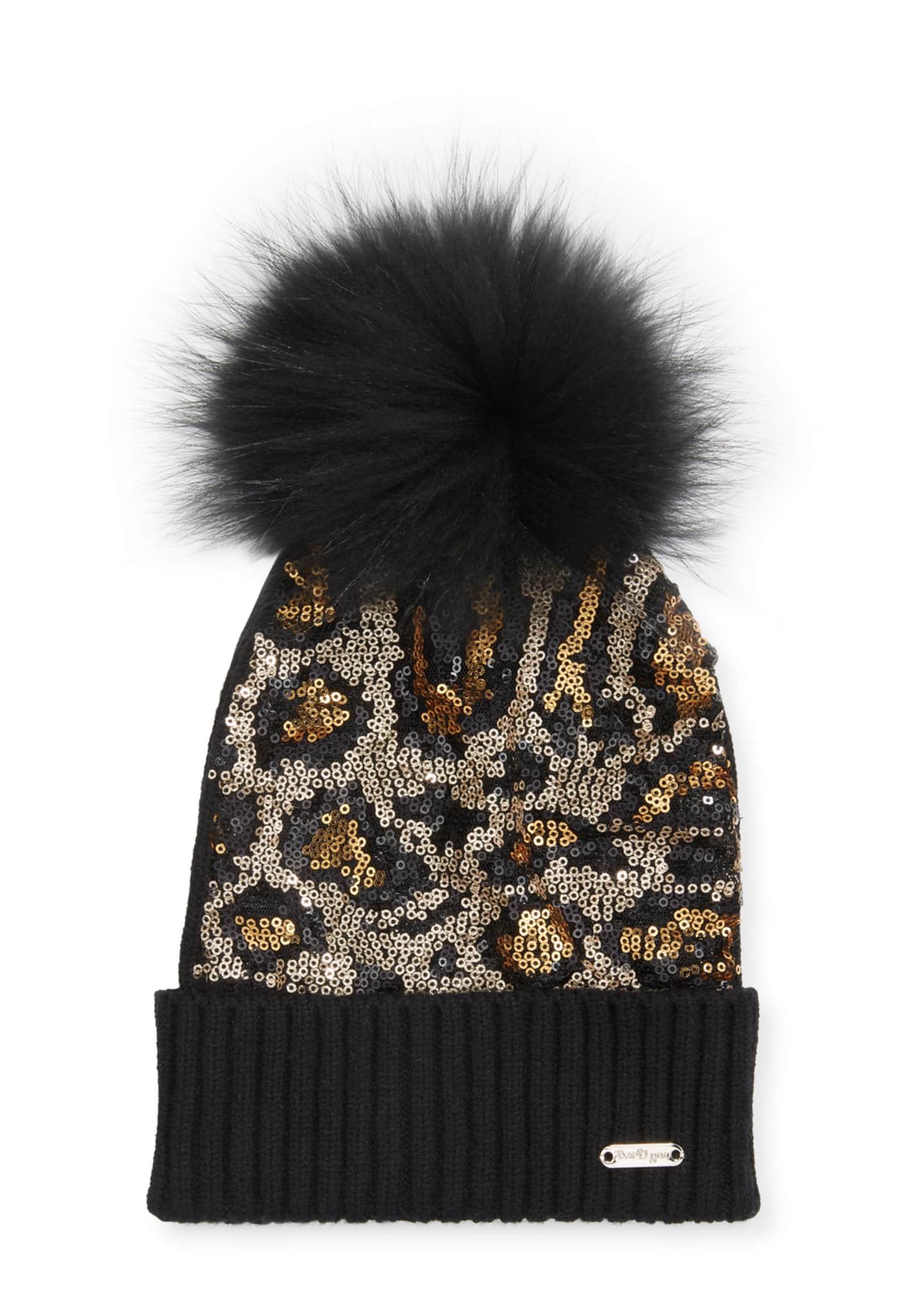 Bari Lynn Animal Sequin Beanie Hat w/ Fur