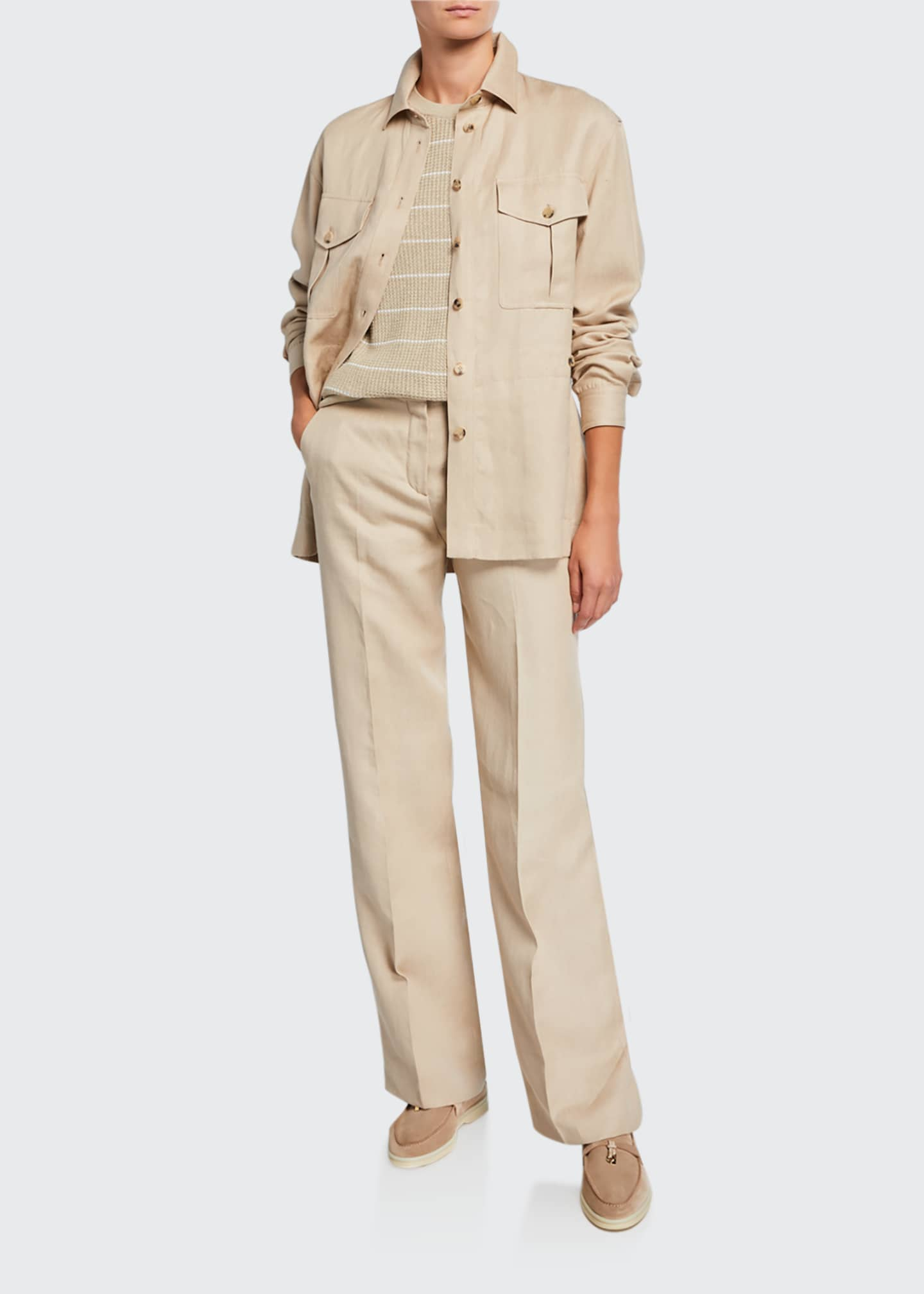 Image 3 of 5: Pleated Denim Linen Bootcut Pants