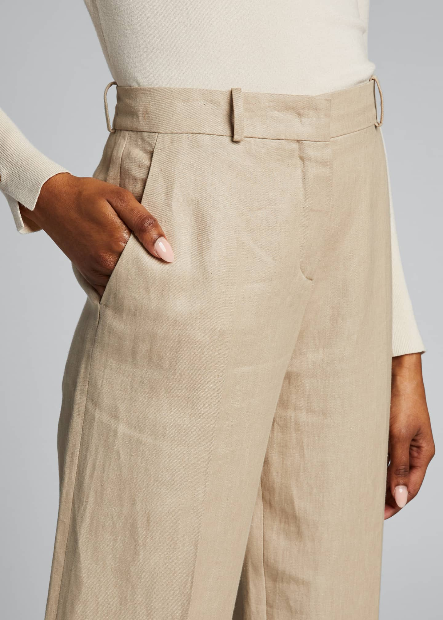 Image 4 of 5: Pleated Denim Linen Bootcut Pants
