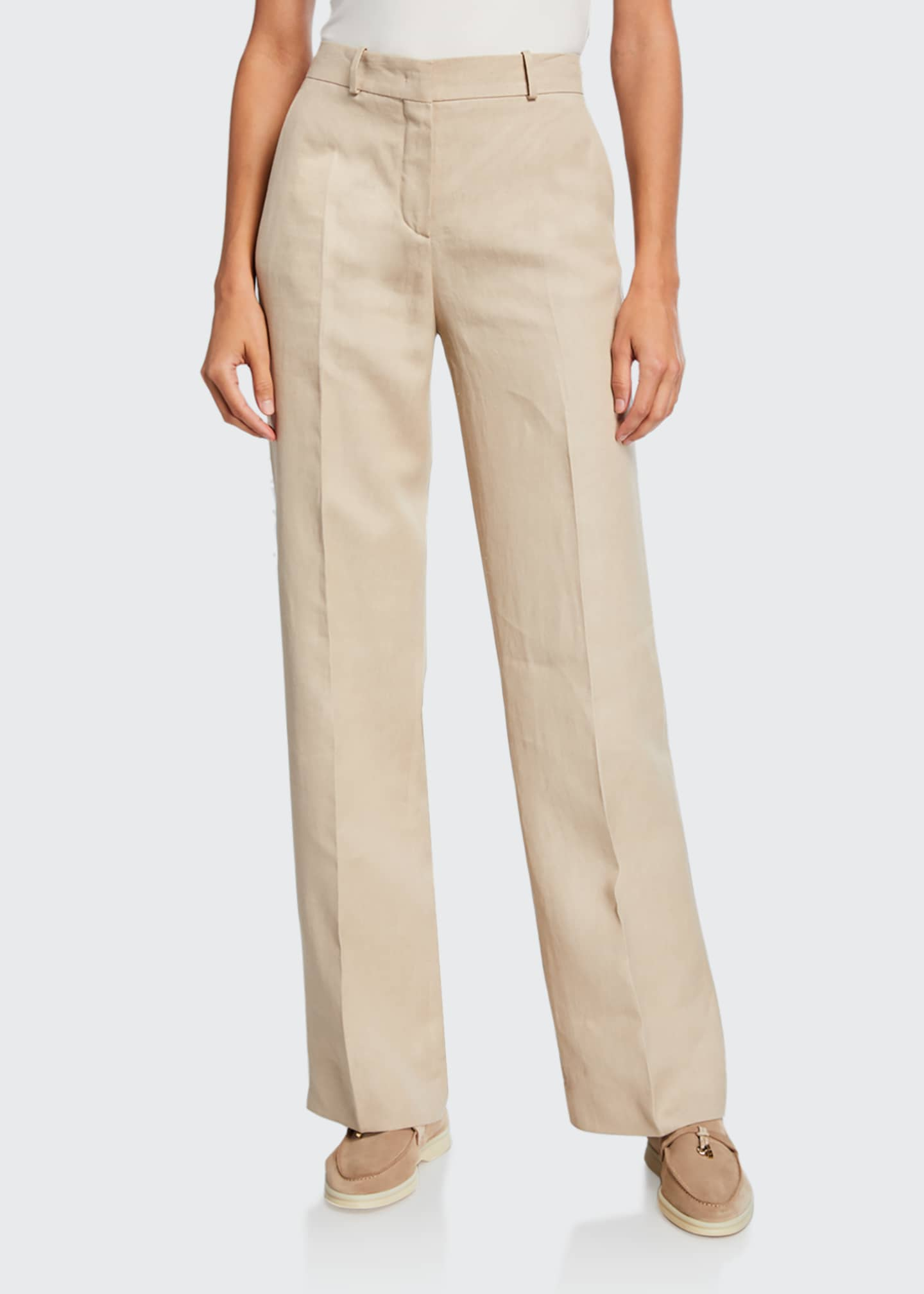 Image 1 of 5: Pleated Denim Linen Bootcut Pants