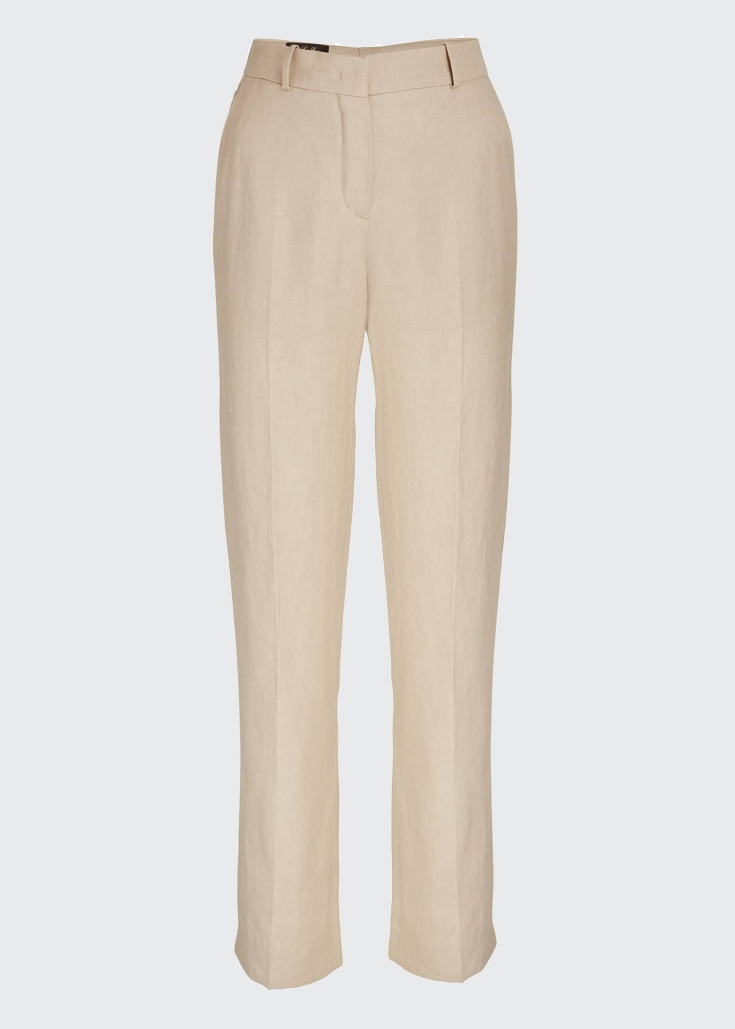 Image 5 of 5: Pleated Denim Linen Bootcut Pants