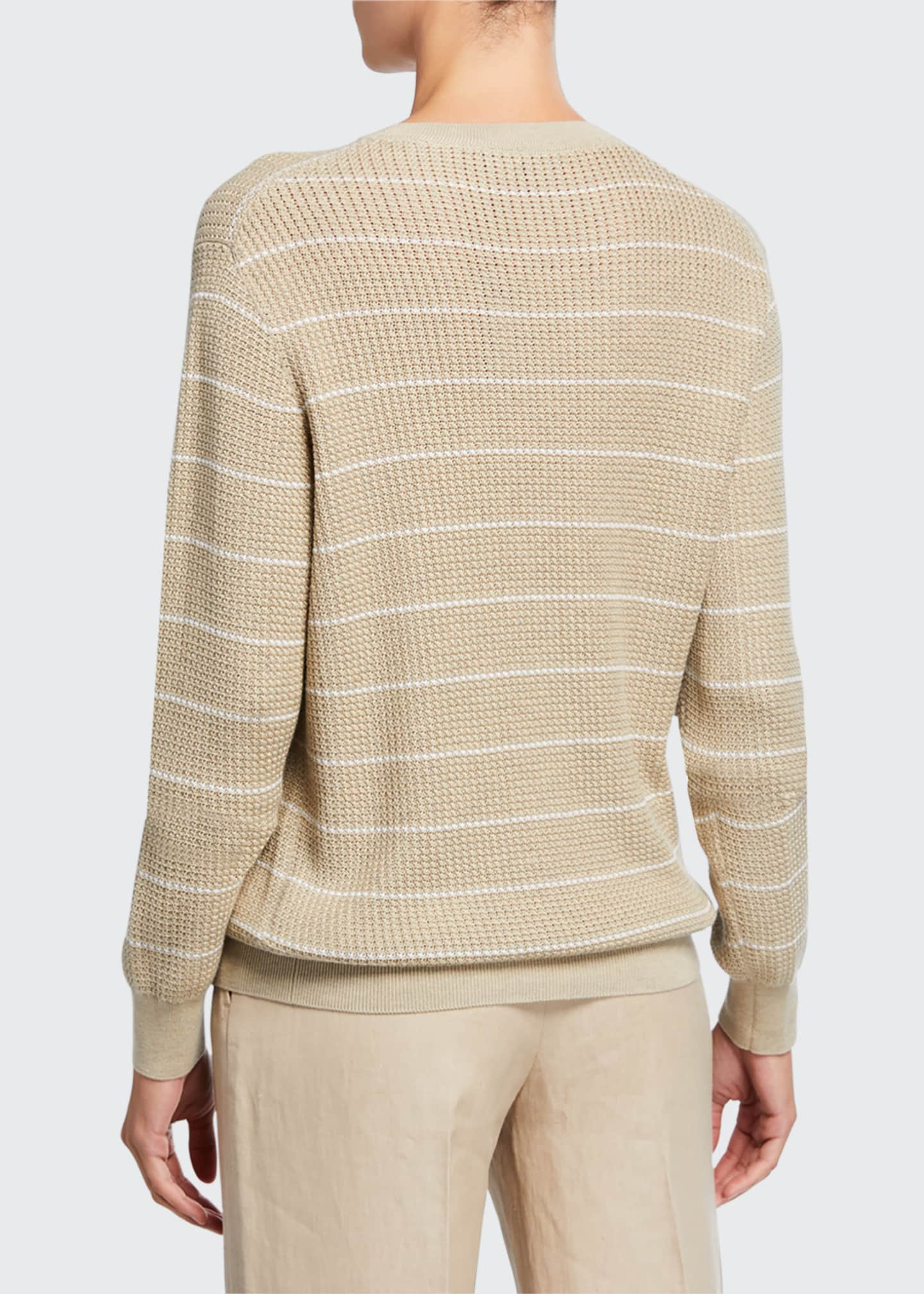 Image 2 of 2: Striped Balloon-Sleeve Crewneck Sweater